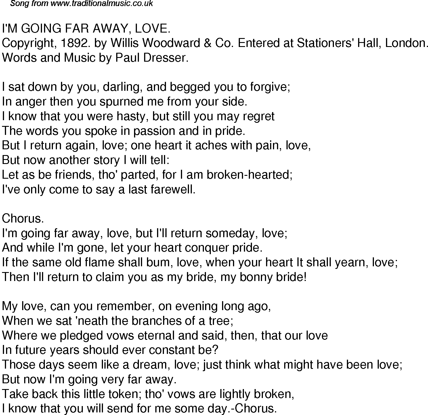 Old Time Song Lyrics For 37 I'm Going Far Away Love
