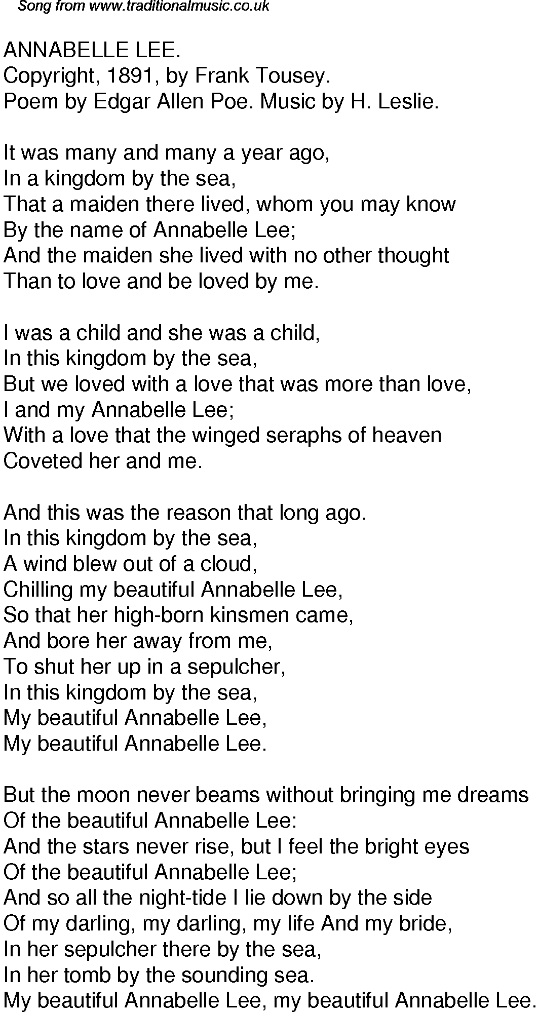 explication essay of annabel lee