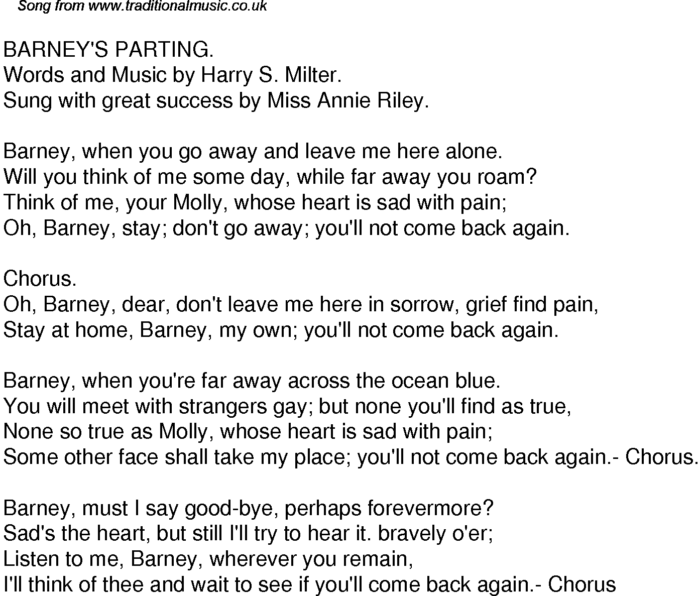 Old Time Song Lyrics For 38 Barneys Parting