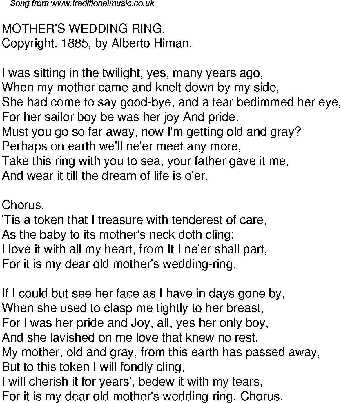 Old Time Song Lyrics for 38 Mothers Wedding Ring