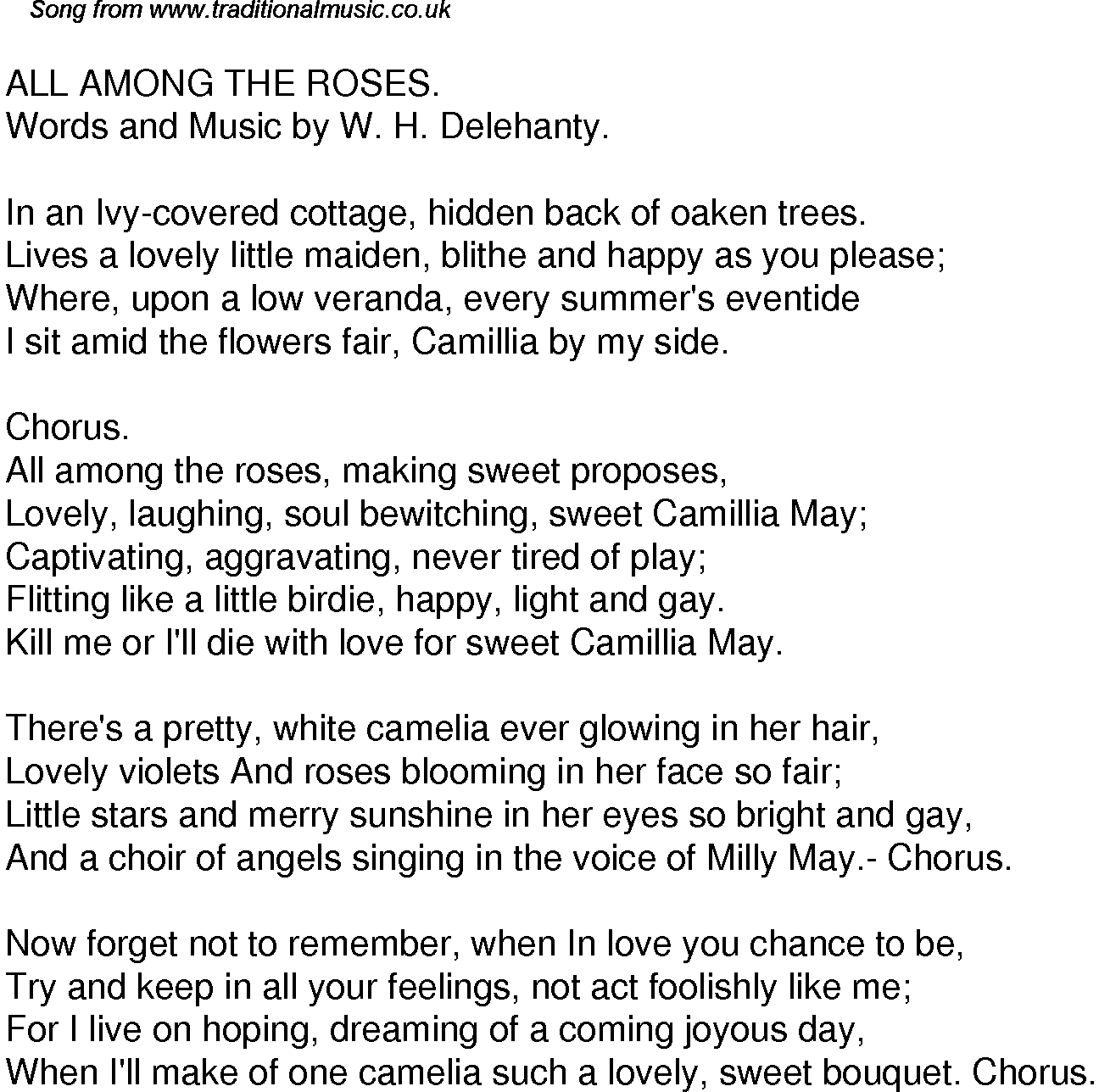 Old Time Song Lyrics for 39 All Among The Roses