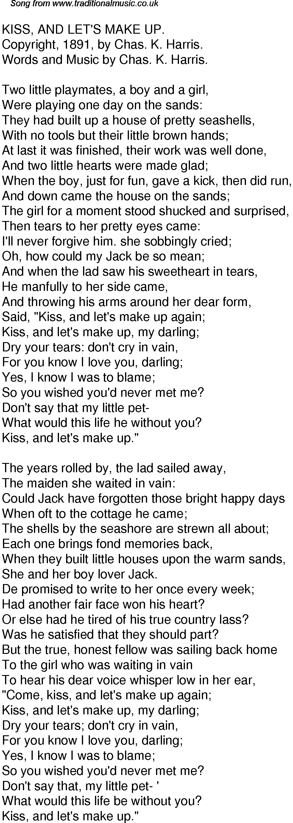 Old Time Song Lyrics for 39 Kiss And Lets Make Up