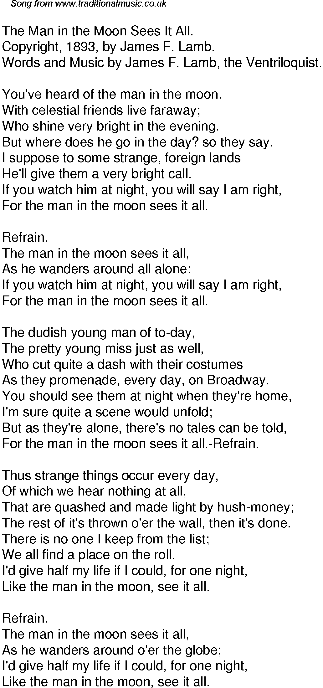 Old Time Song Lyrics for 39 The Man In The Moon Sees It All