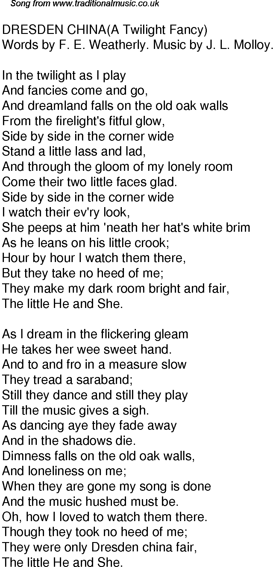 old time song lyrics for 40 dresden china a twilight fancy