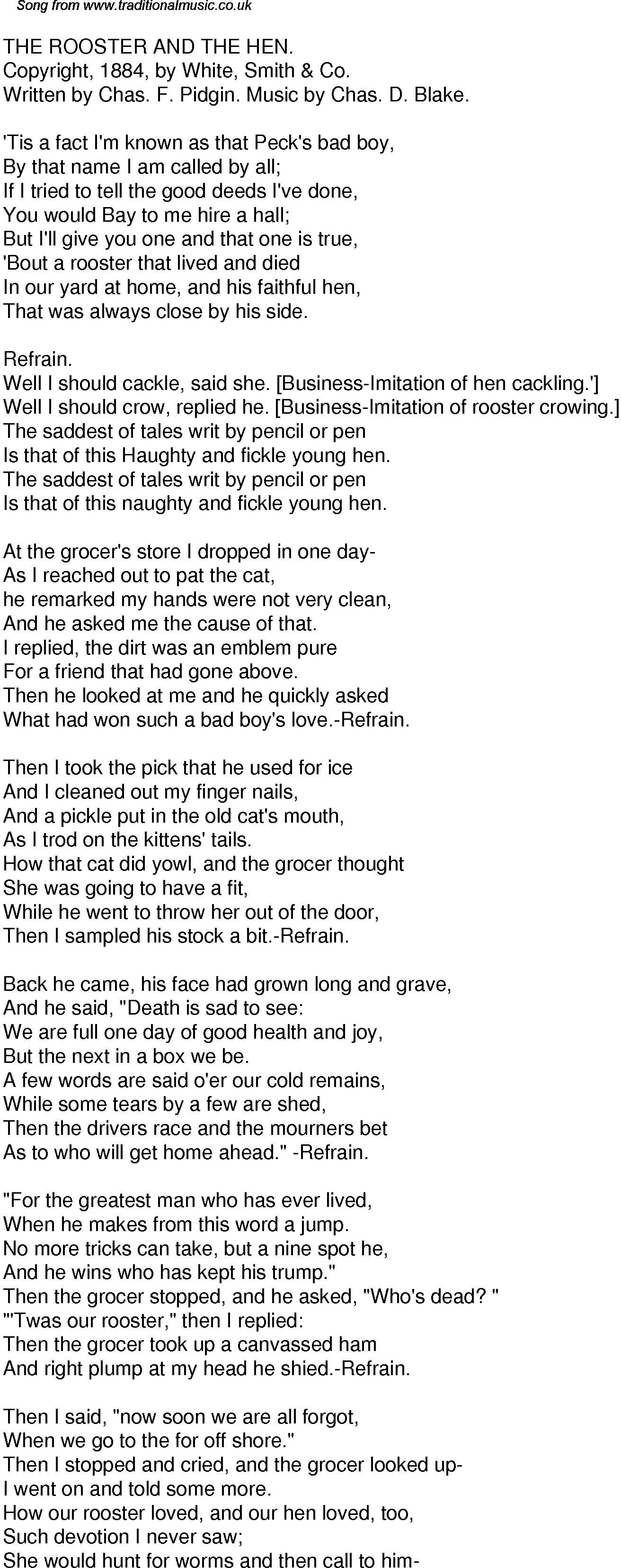 Old Time Song Lyrics for 40 The Rooster And The Hen