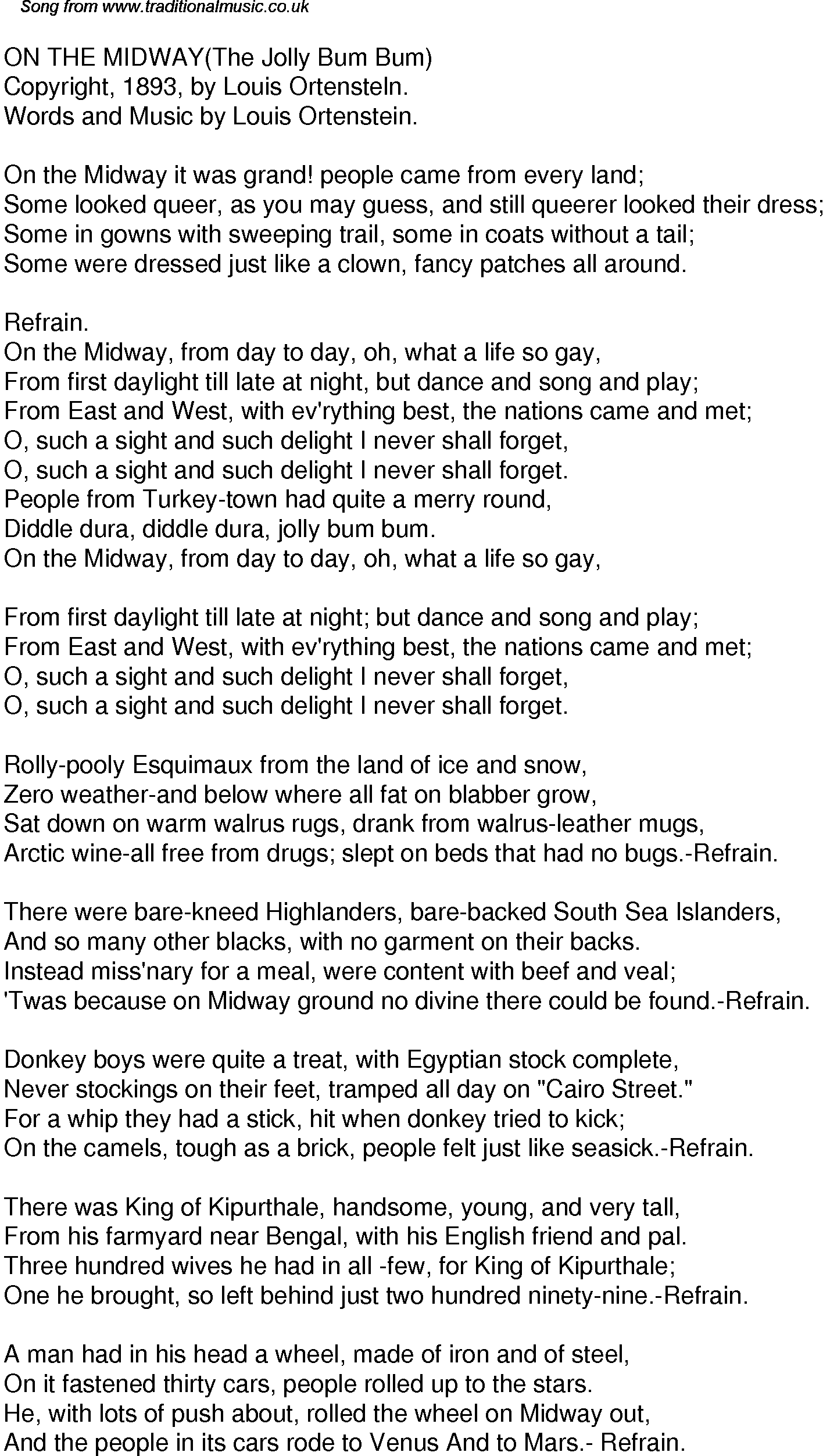 Old Time Song Lyrics for 41 On The Midway The Jolly Bum Bum