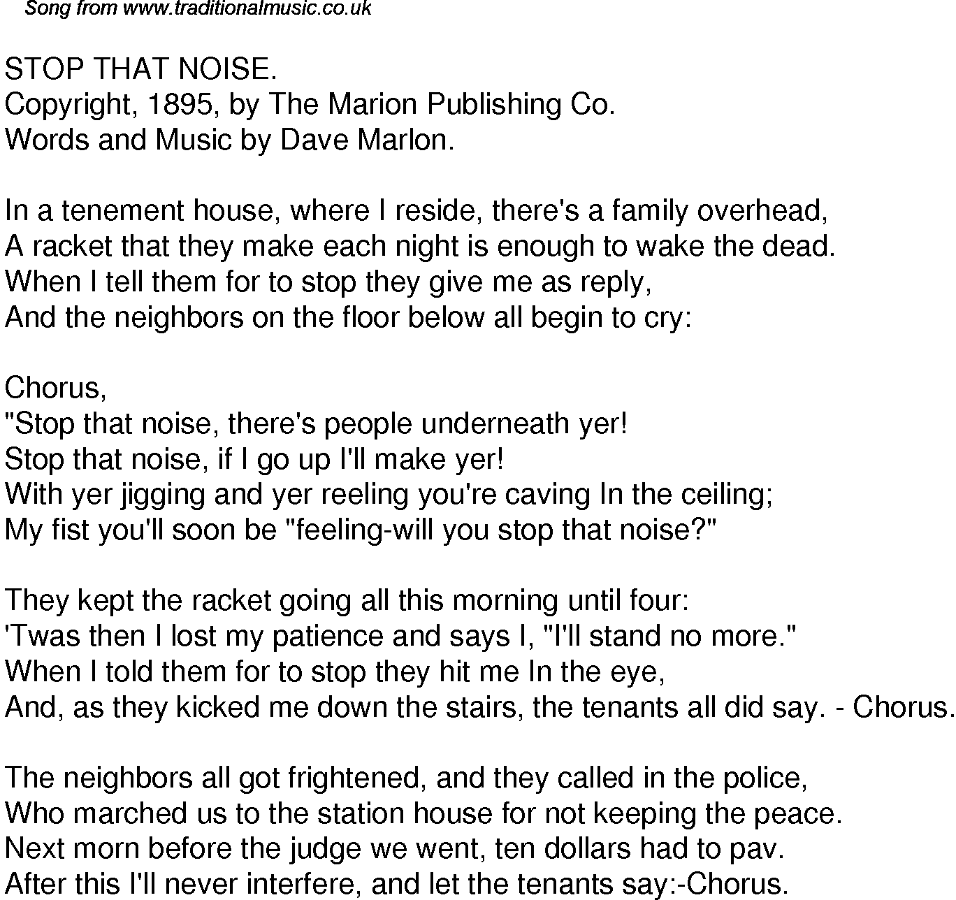 Old Time Song Lyrics For Stop That Noise