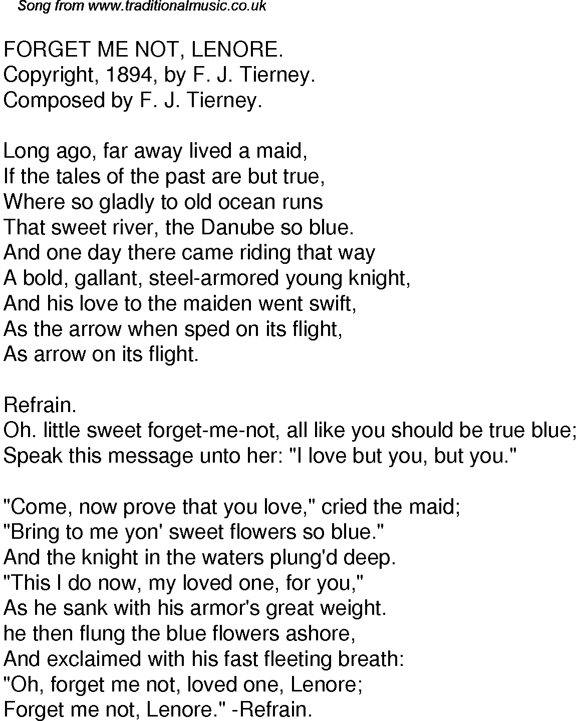Old Time Song Lyrics For 48 Forget Me Not Lenore