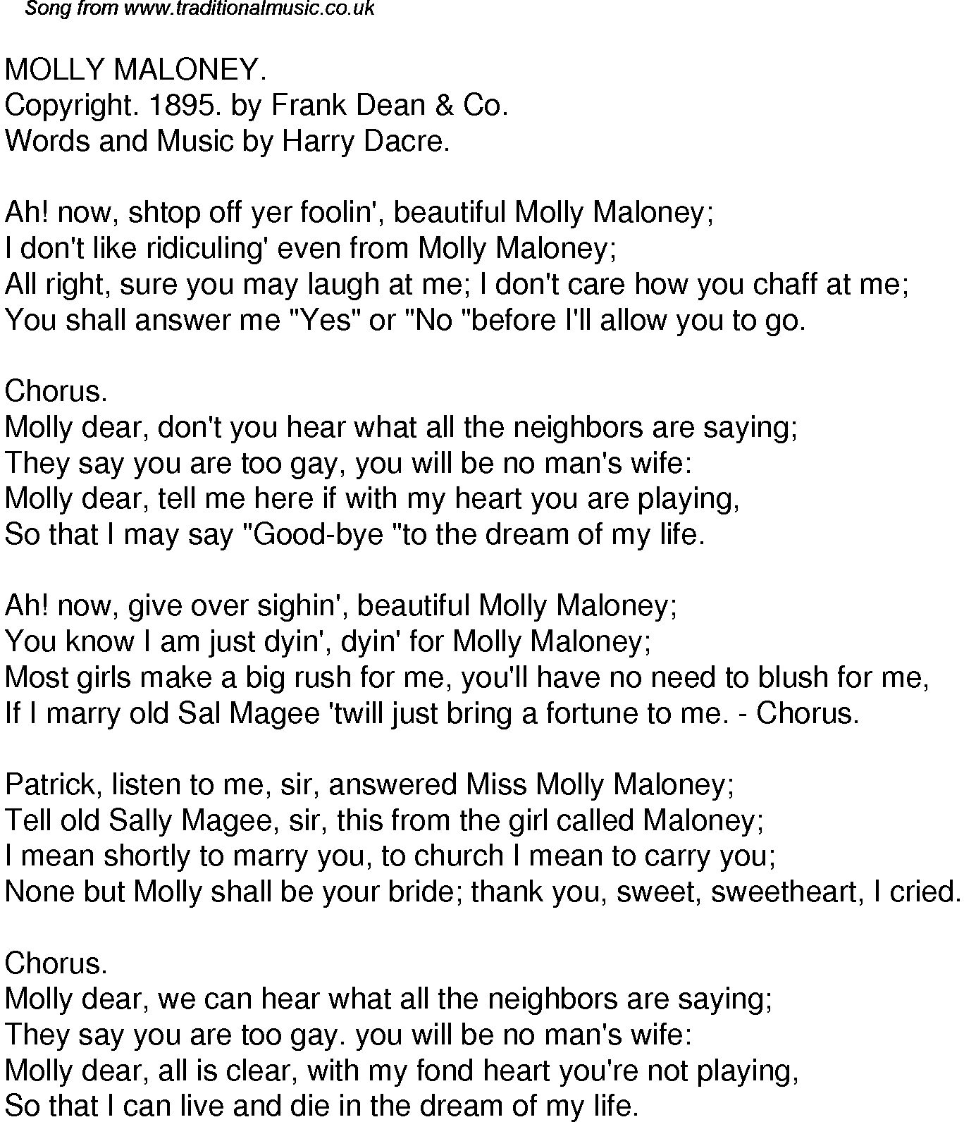 Song No Need Download: Old Time Song Lyrics For 49 Molly Maloney