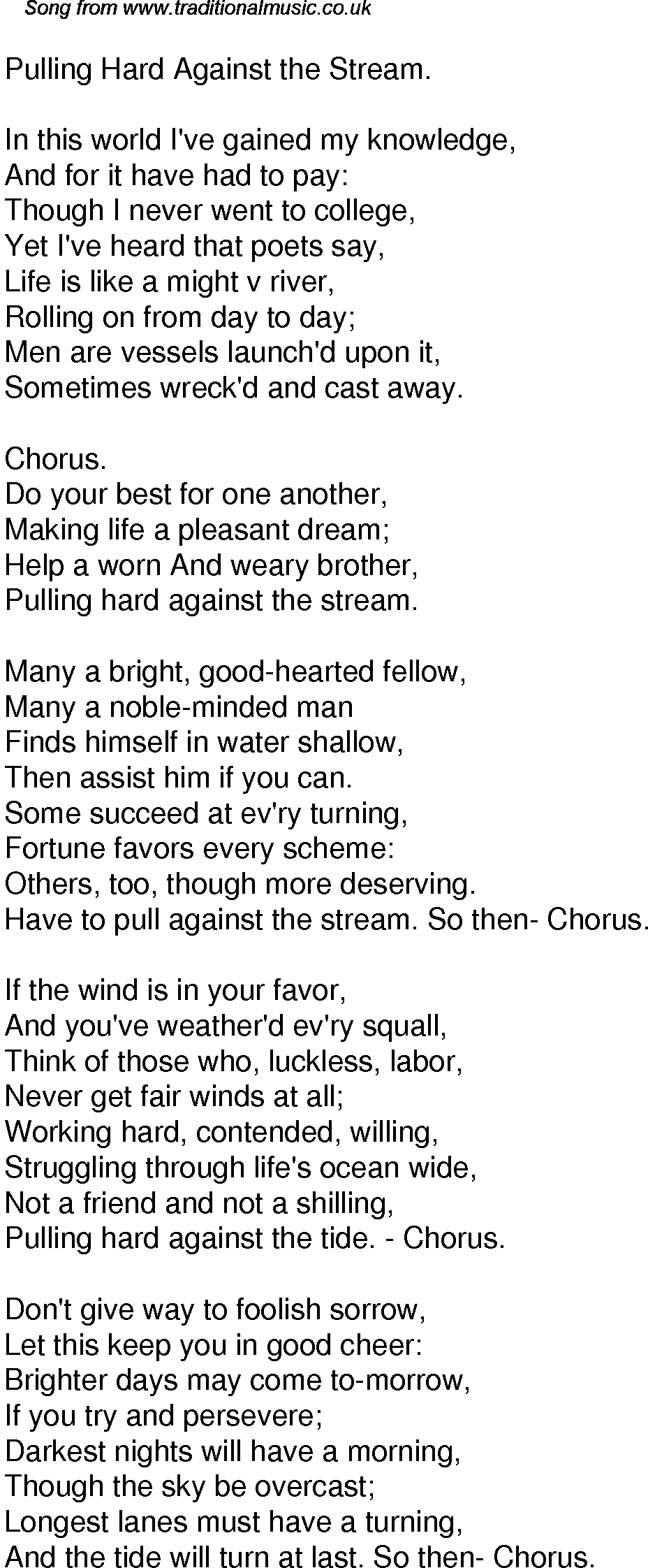 Old Time Song Lyrics for 49 Pulling Hard Against The Stream