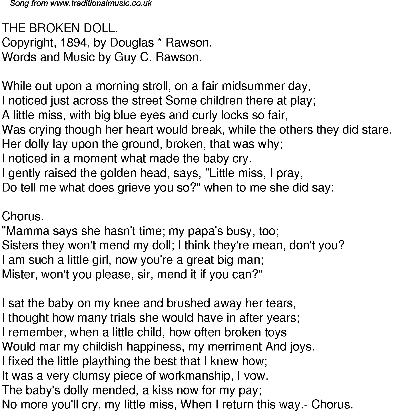 Old Time Song Lyrics for 49 The Broken Doll