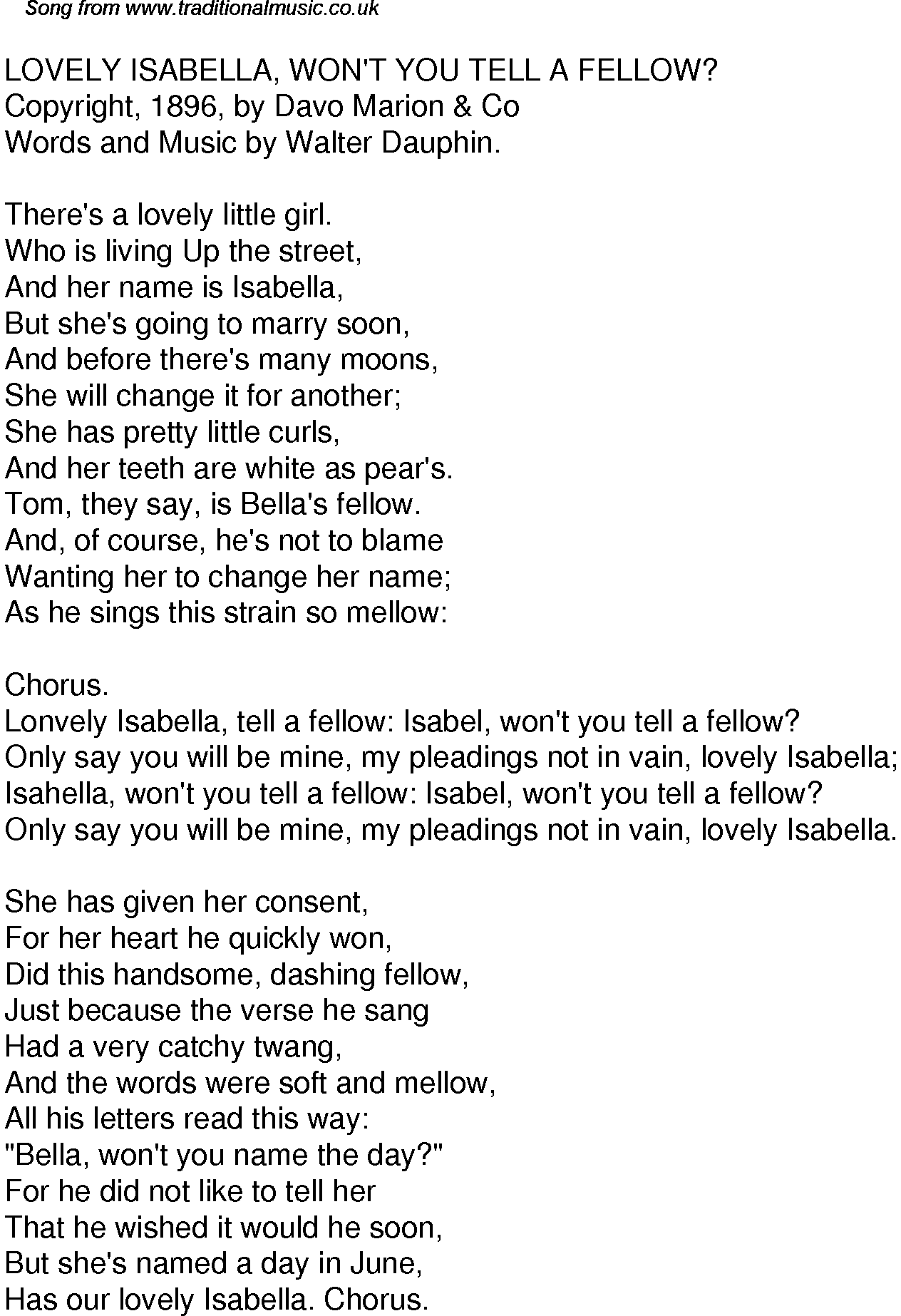 Old Time Song Lyrics For 52 Lovely Isabella Wont You Tell A Fellow
