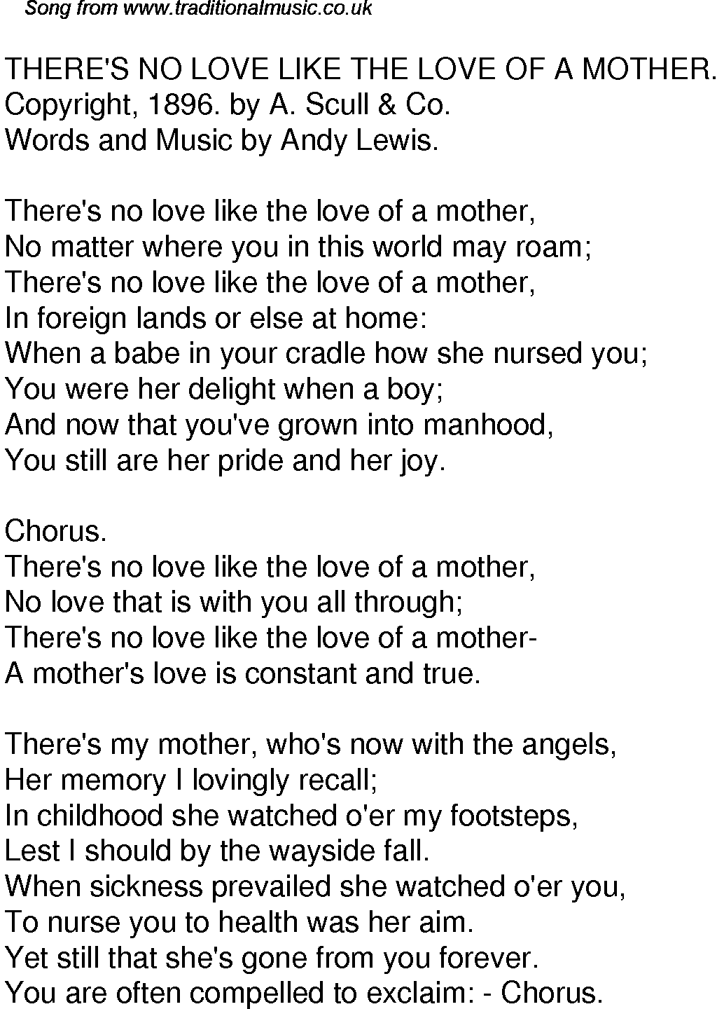 old time song lyrics for 52 there s no love like the love of a mother