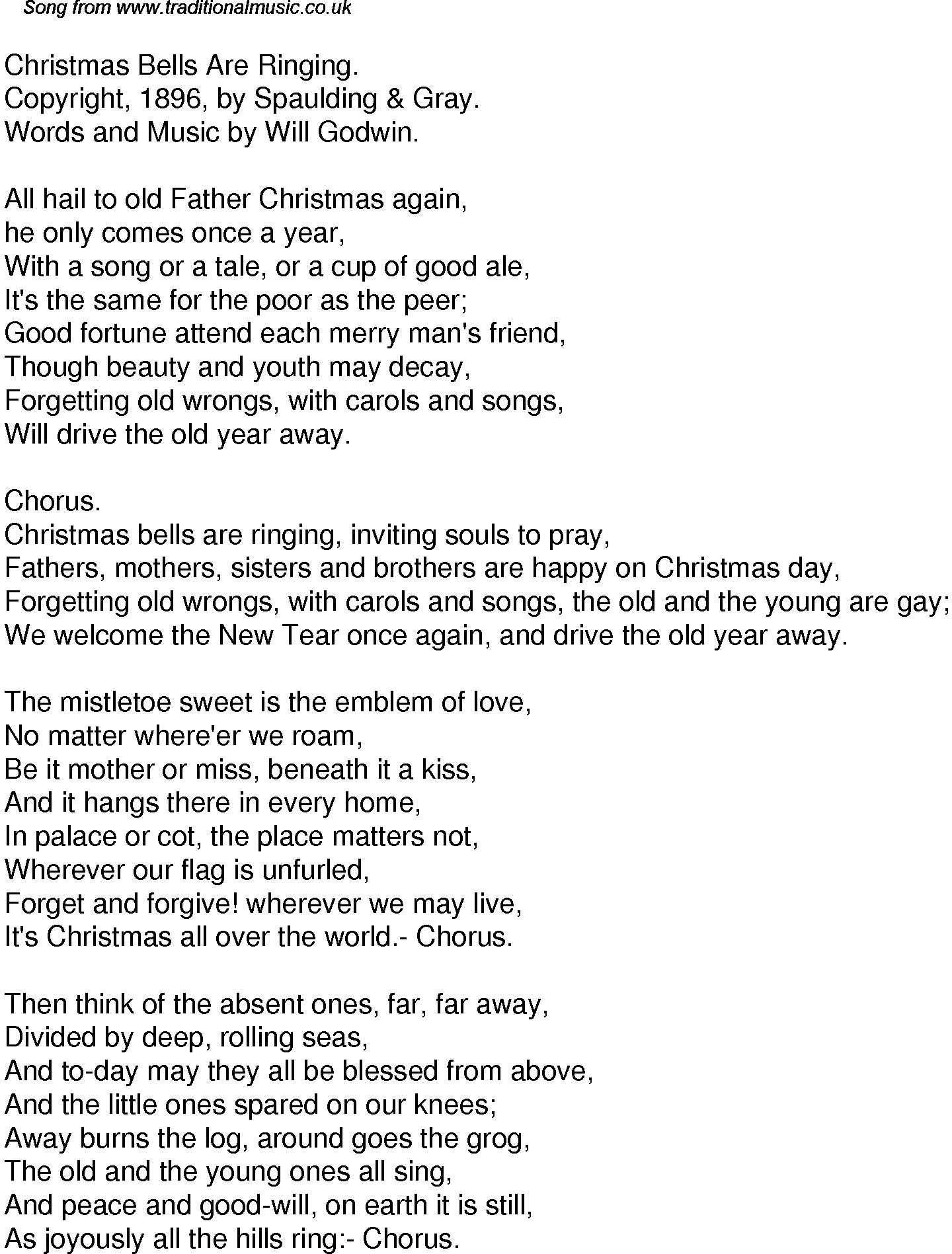 Lyrics containing the term: christmas bells