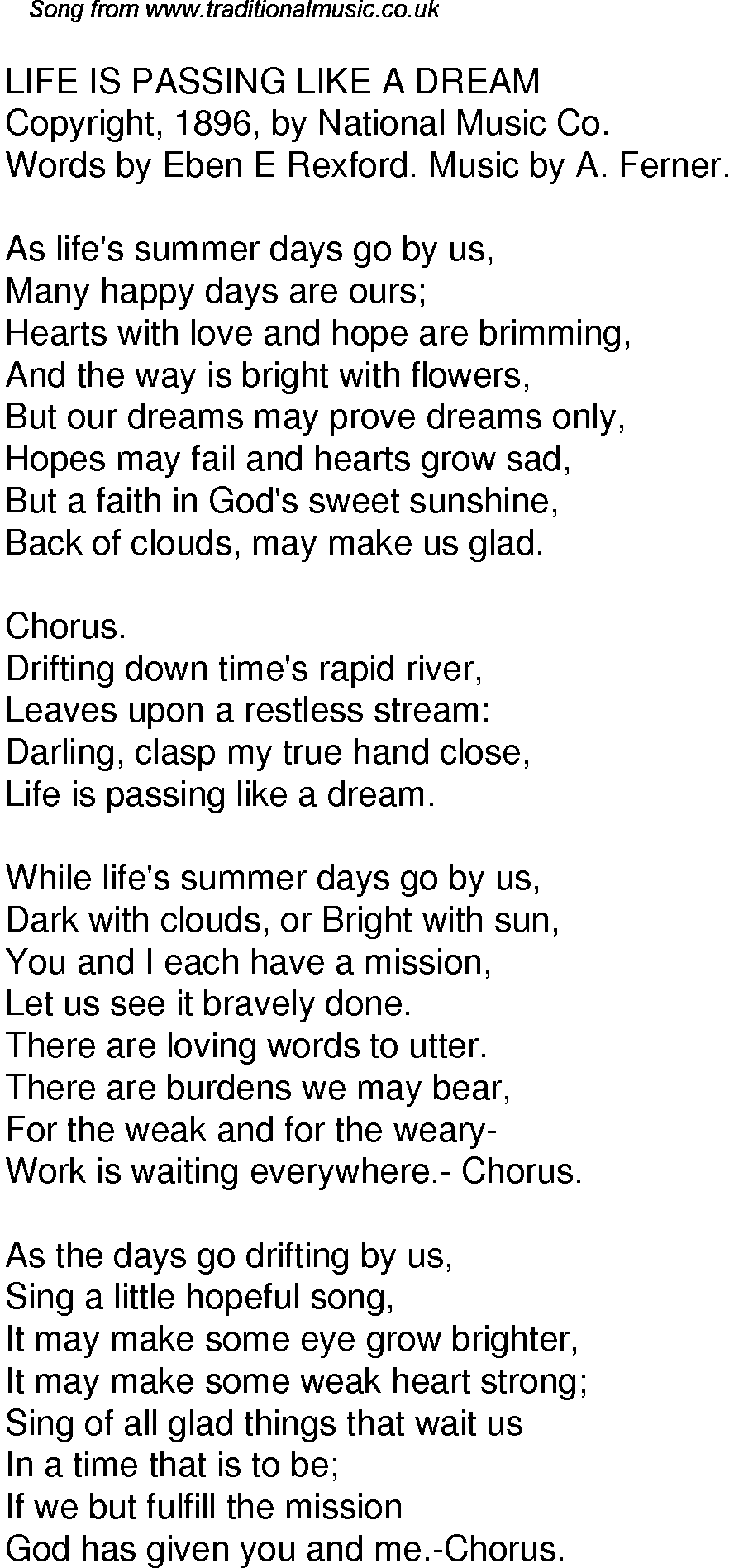 Old Time Song Lyrics for 54 Life Is Passing Like A Dream