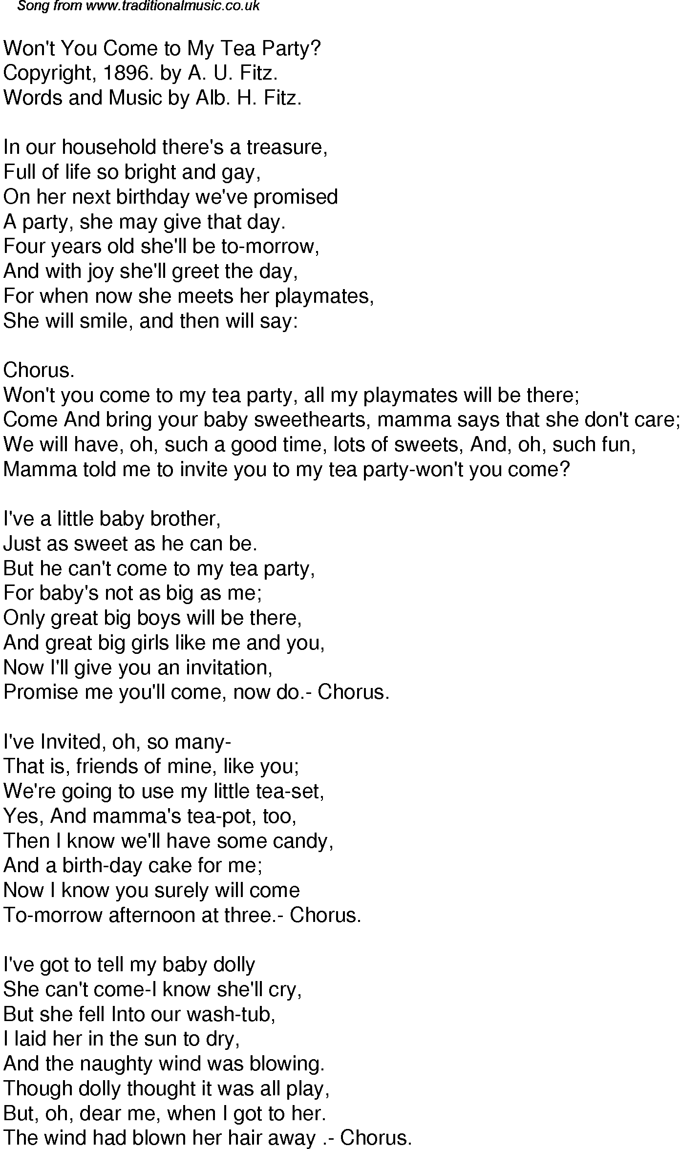 Old time song lyrics for 54 wont you come to my tea party download music lyrics as png graphic file stopboris Gallery