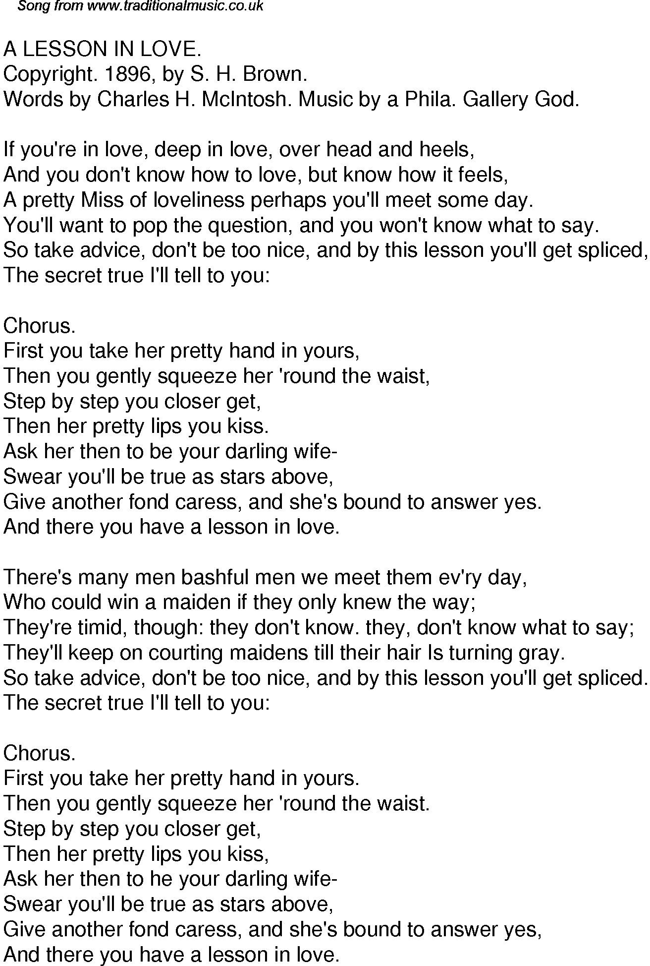Old Time Song Lyrics for 58 A Lesson In Love