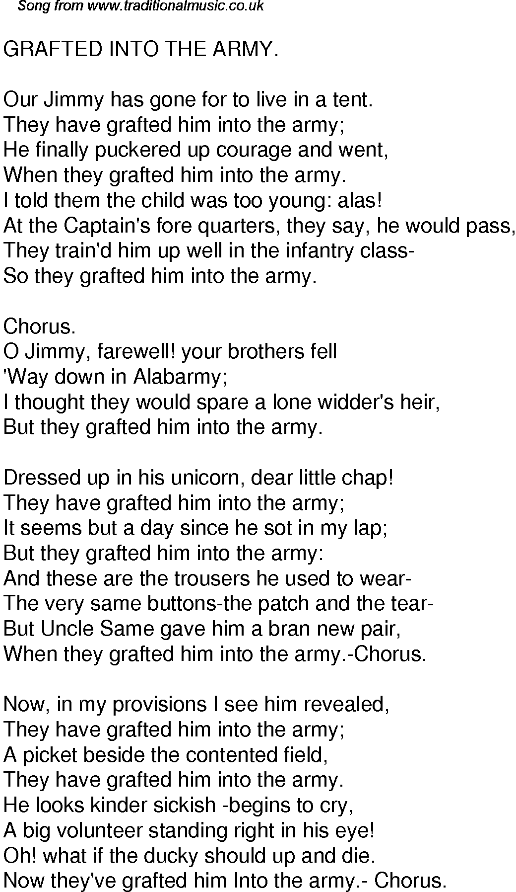 Old Time Song Lyrics for 59 Grafted Into The Army