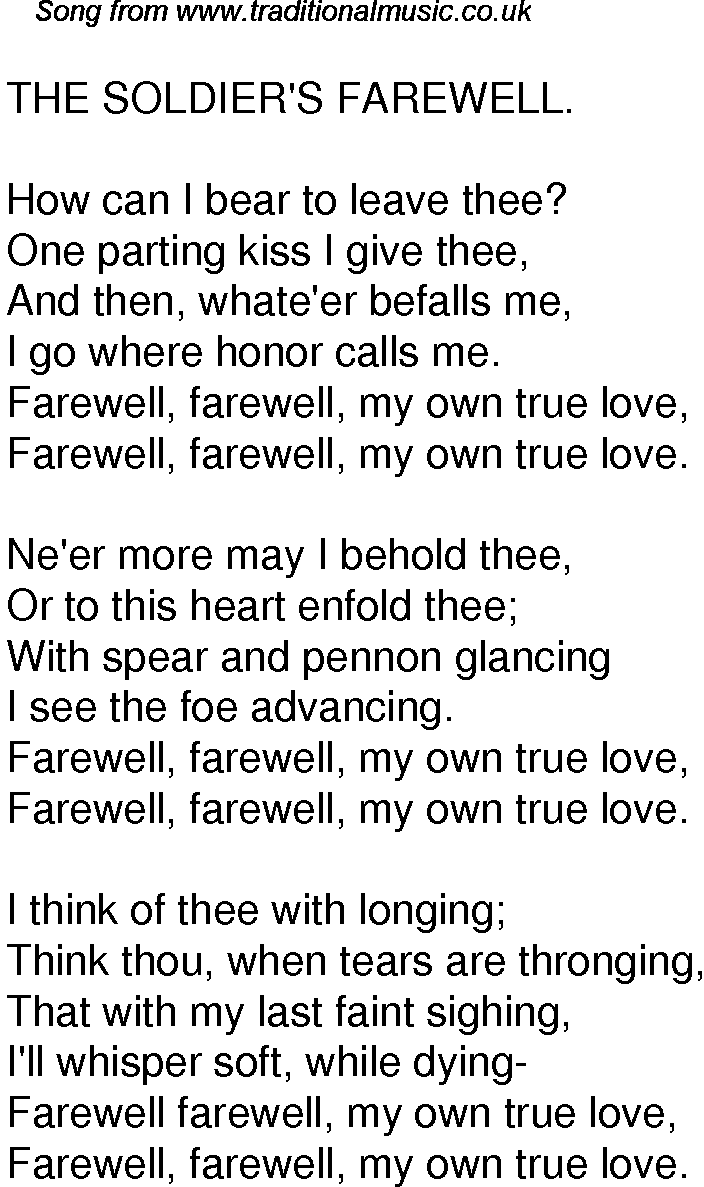 Old Time Song Lyrics for 59 The Soldiers Farewell