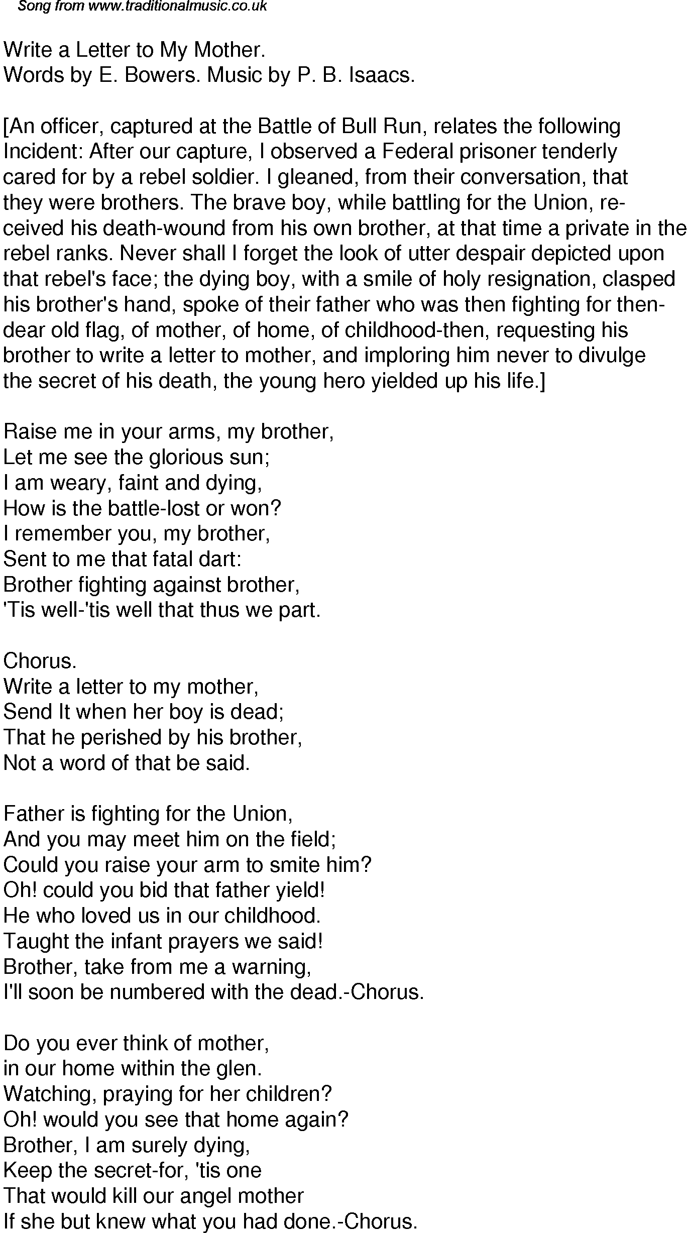 Old Time Song Lyrics For  Write A Letter To My Mother