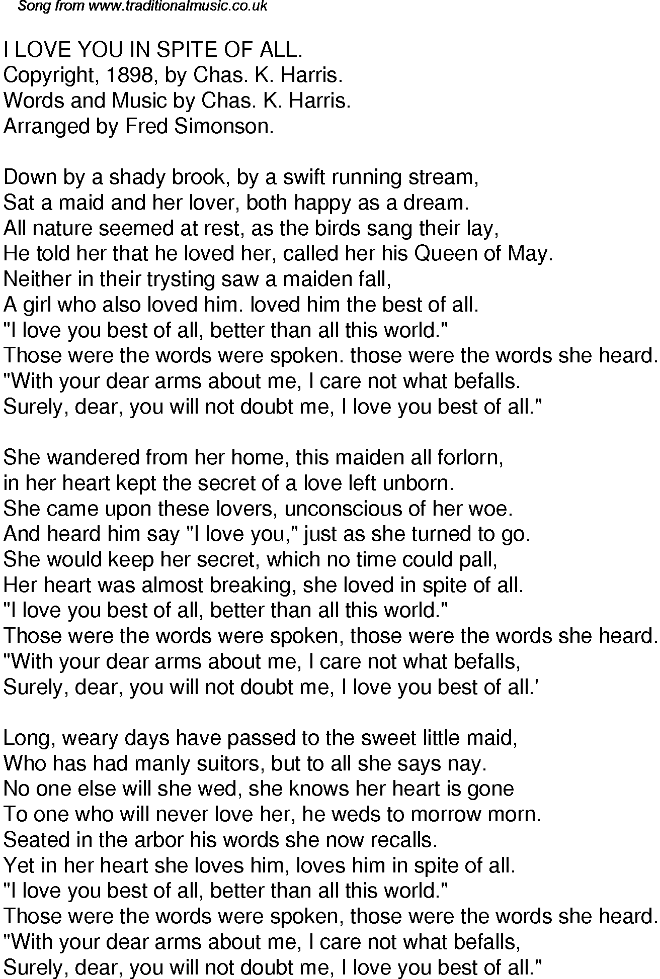 Old Time Song Lyrics for 61 I Love You In Spite Of All