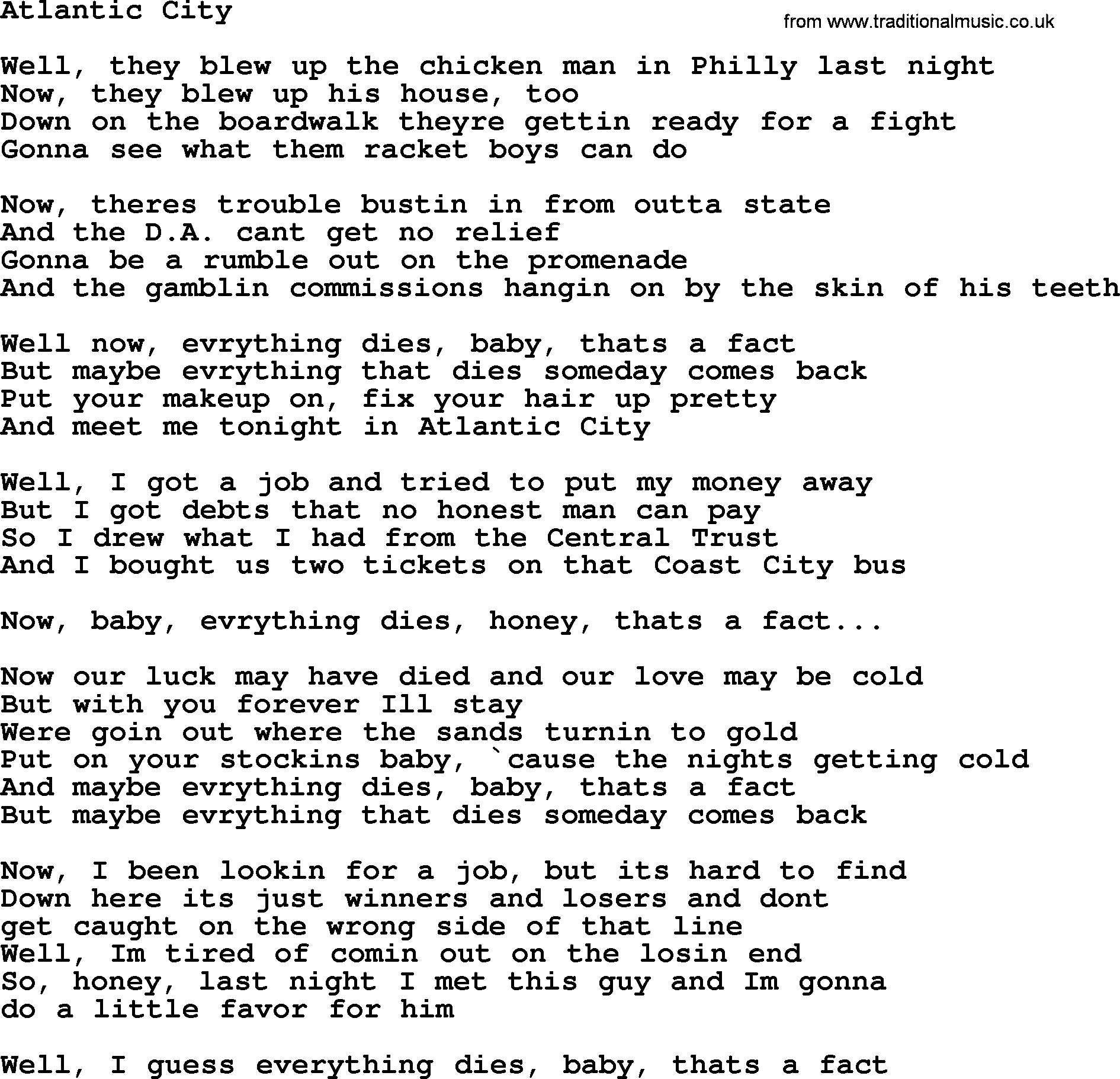 Bruce Springsteen Song Atlantic City Lyrics