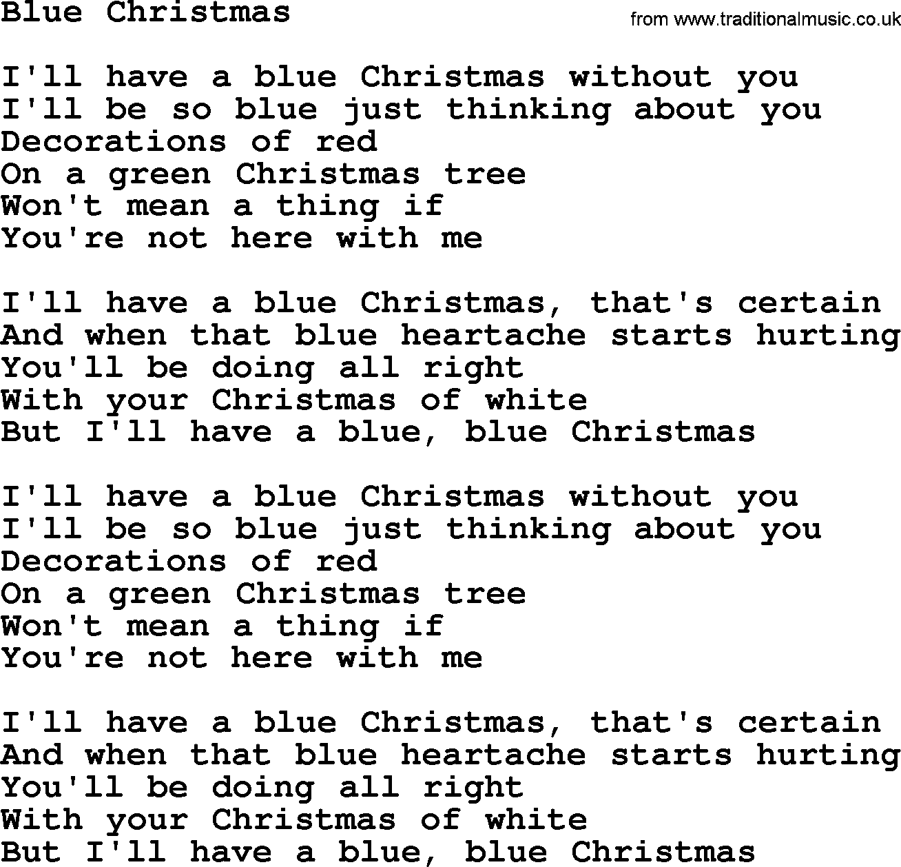 Bruce Springsteen song: Blue Christmas, lyrics