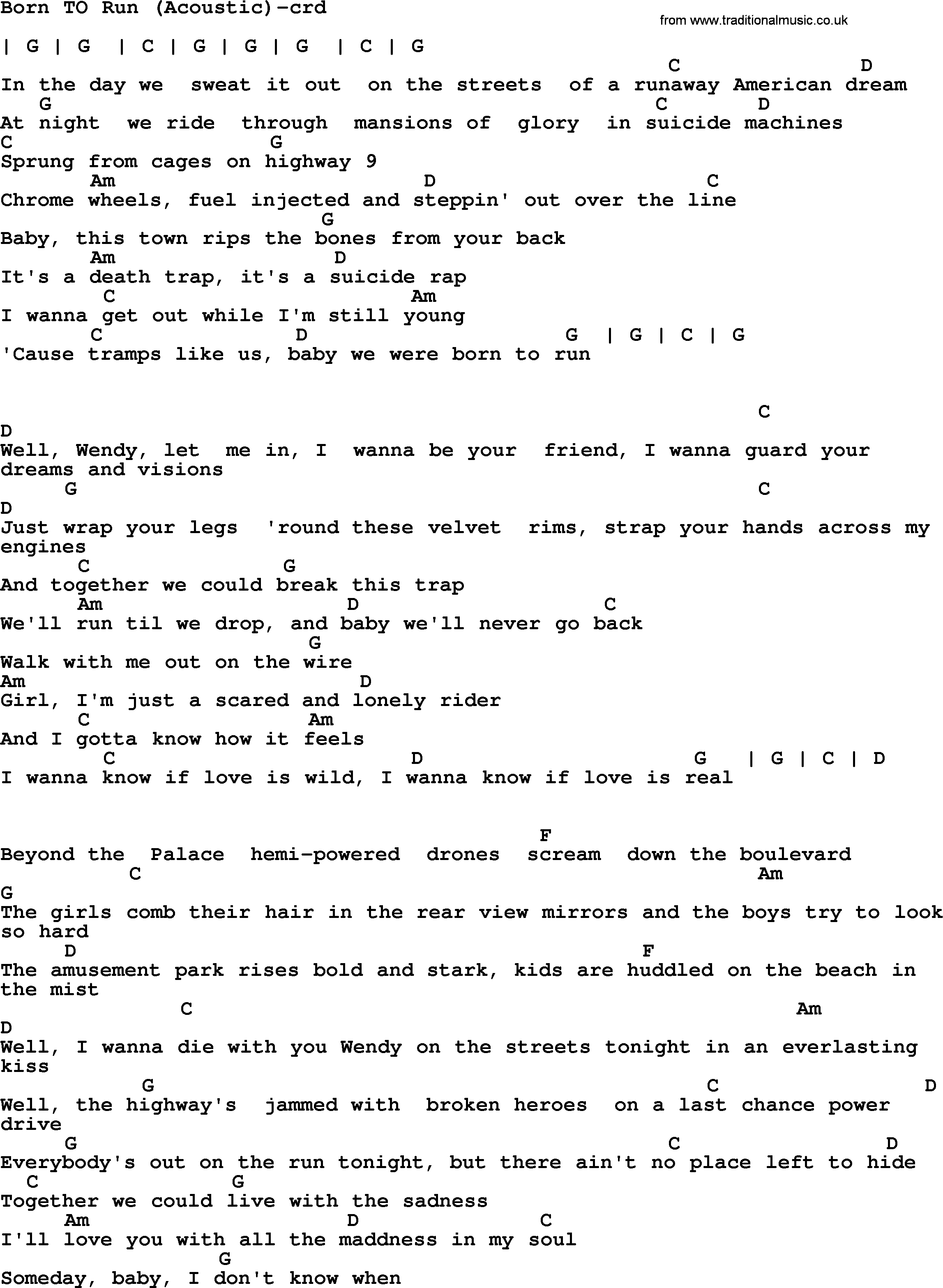 Bruce Springsteen Song Born To Runacoustic Lyrics And Chords