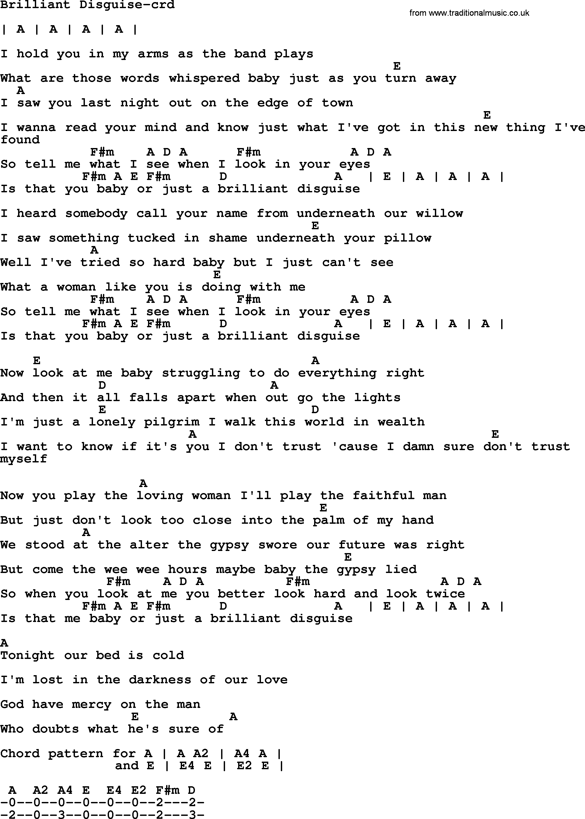Bruce Springsteen Song Brilliant Disguise Lyrics And Chords
