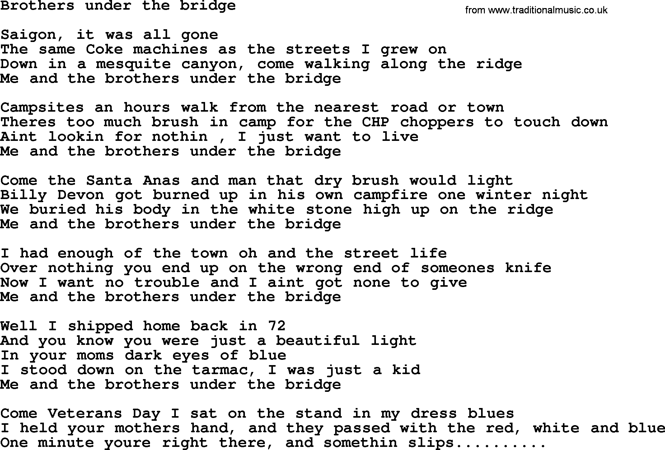 Bruce Springsteen song: Brothers Under The Bridge, lyrics