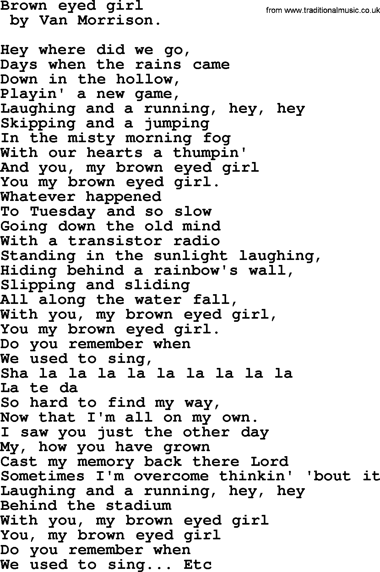 Bruce Springsteen Song Brown Eyed Girl Lyrics