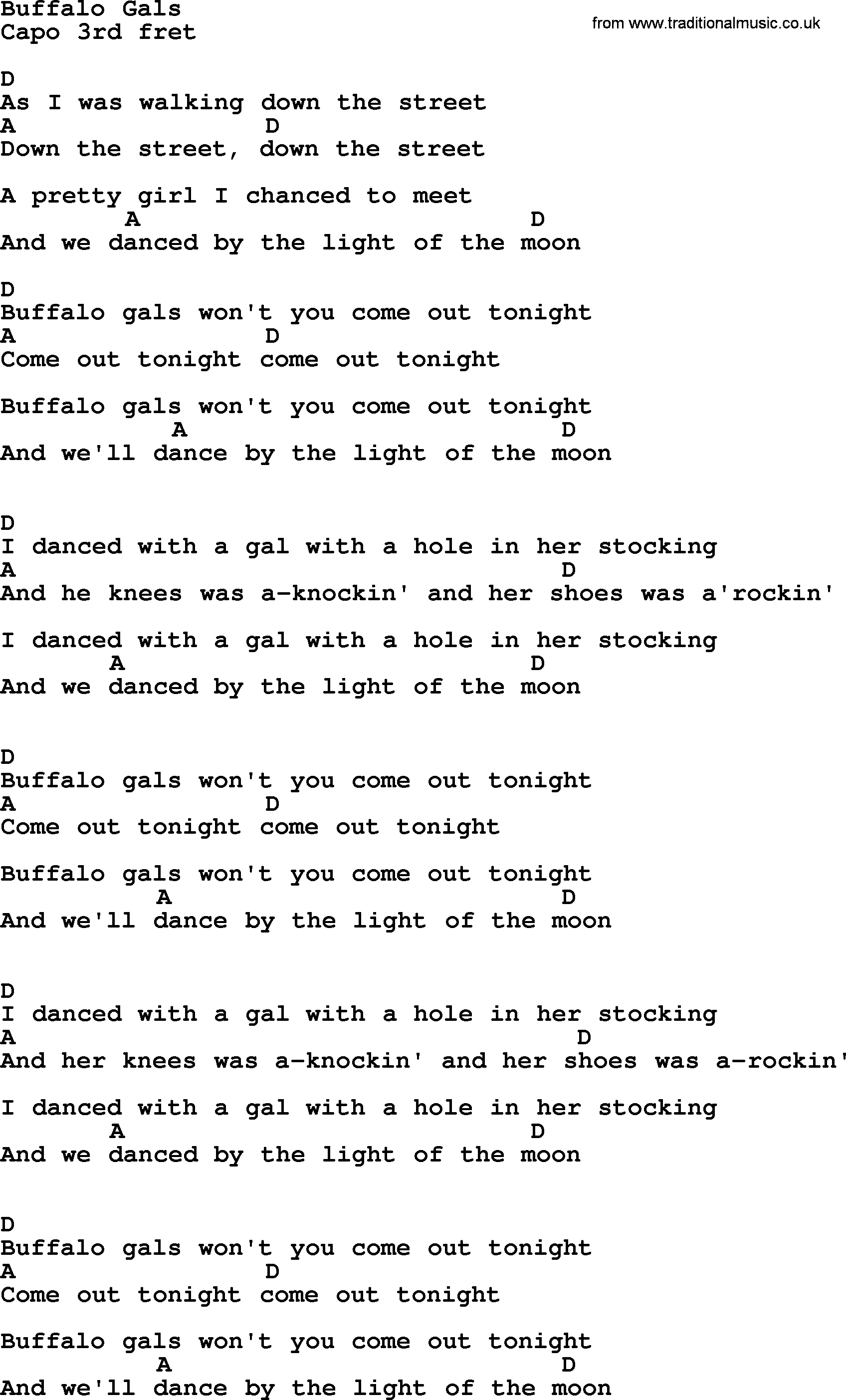 Bruce Springsteen Song Buffalo Gals Lyrics And Chords