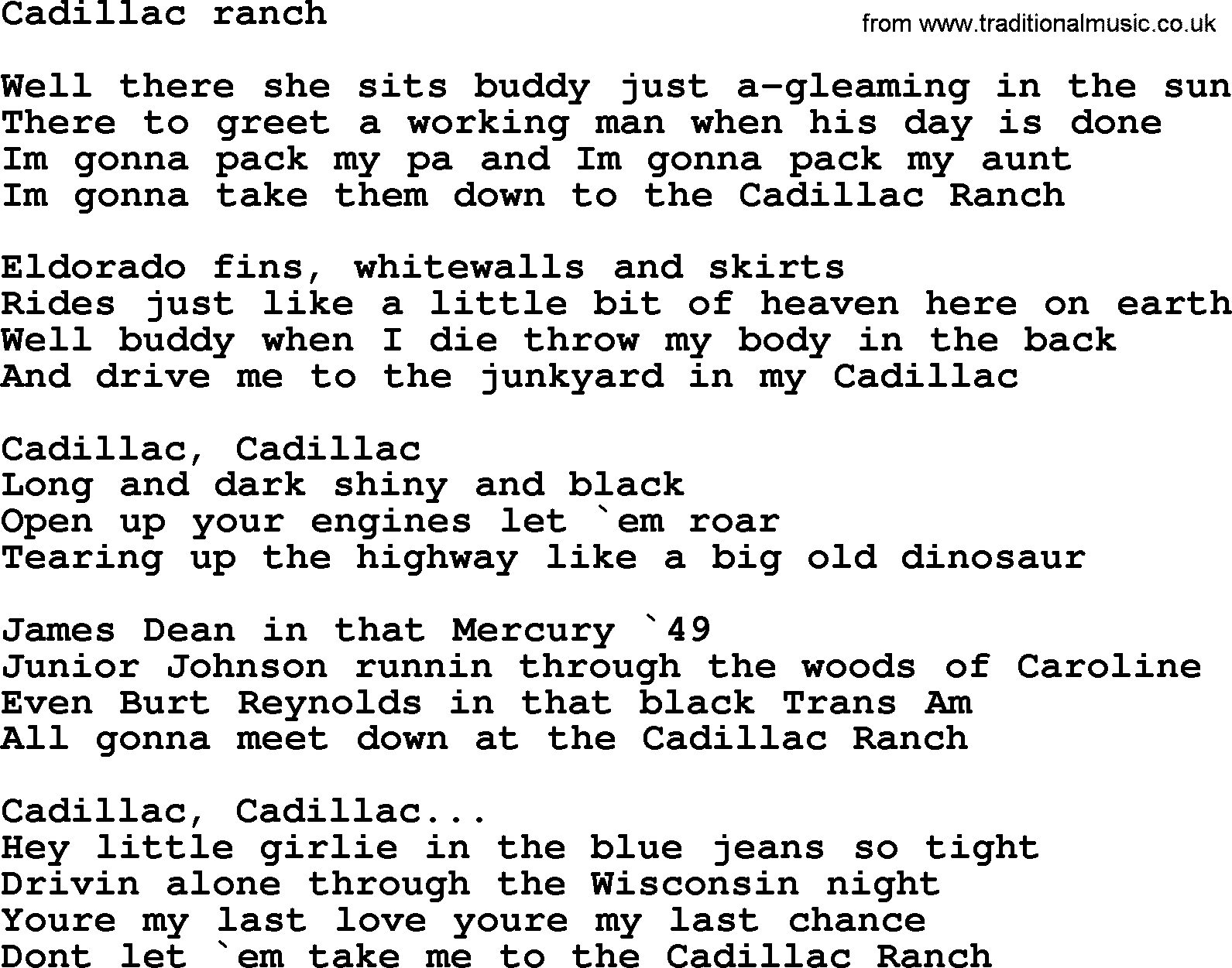 bruce springsteen song cadillac ranch lyrics. Cars Review. Best American Auto & Cars Review