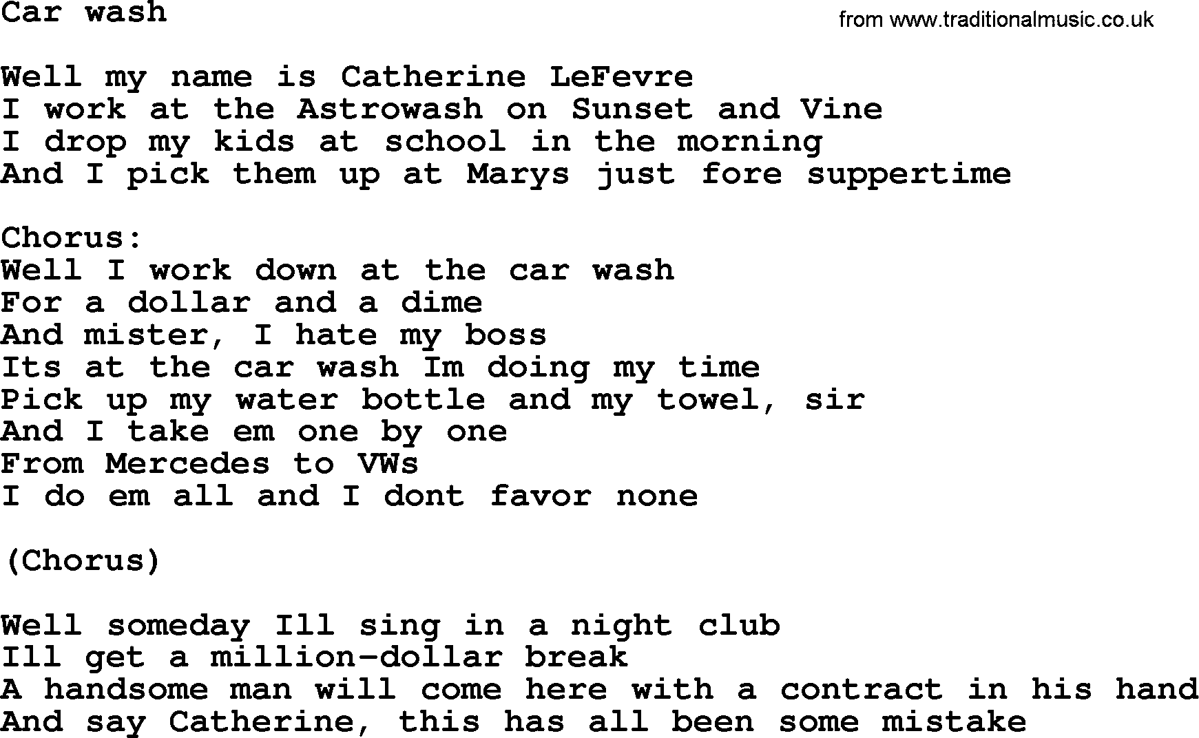 Springsteen Car Wash Lyrics