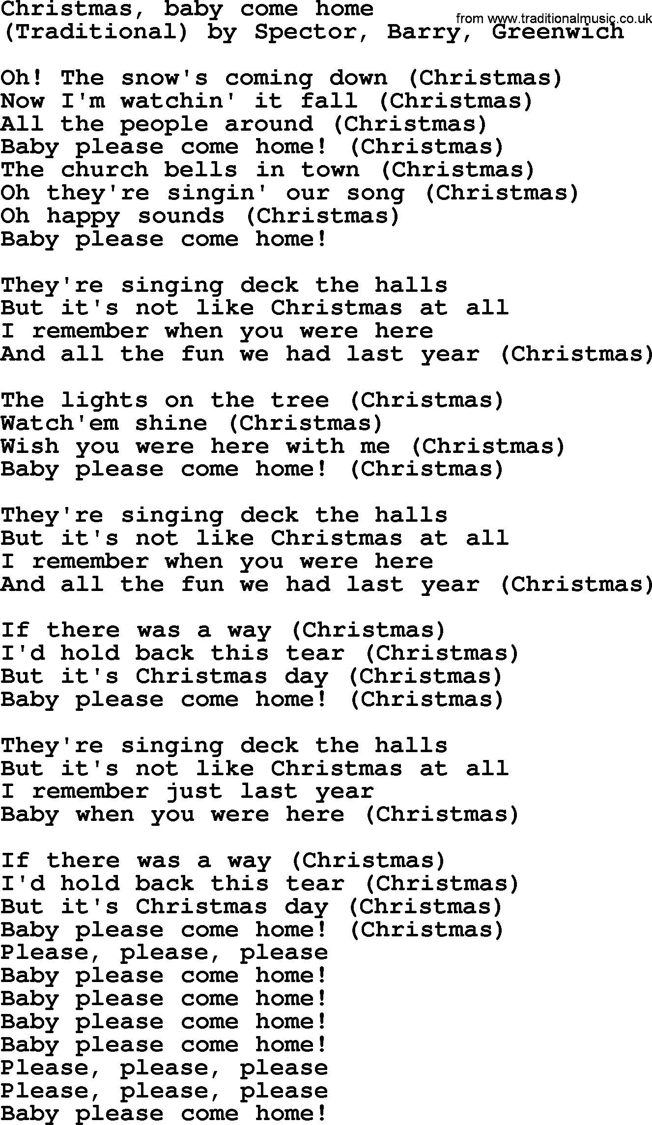 Bruce Springsteen Song Christmas Baby Come Home Lyrics