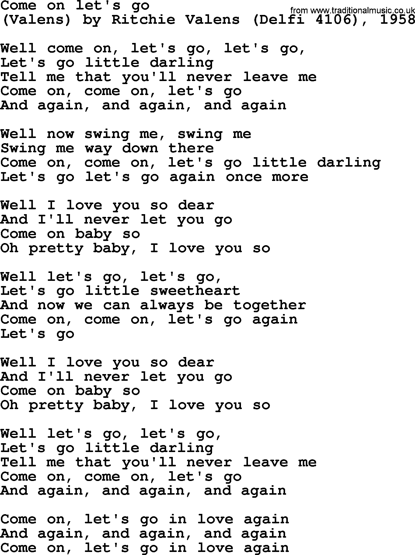 Bruce Springsteen song: Come On Let's Go, lyrics