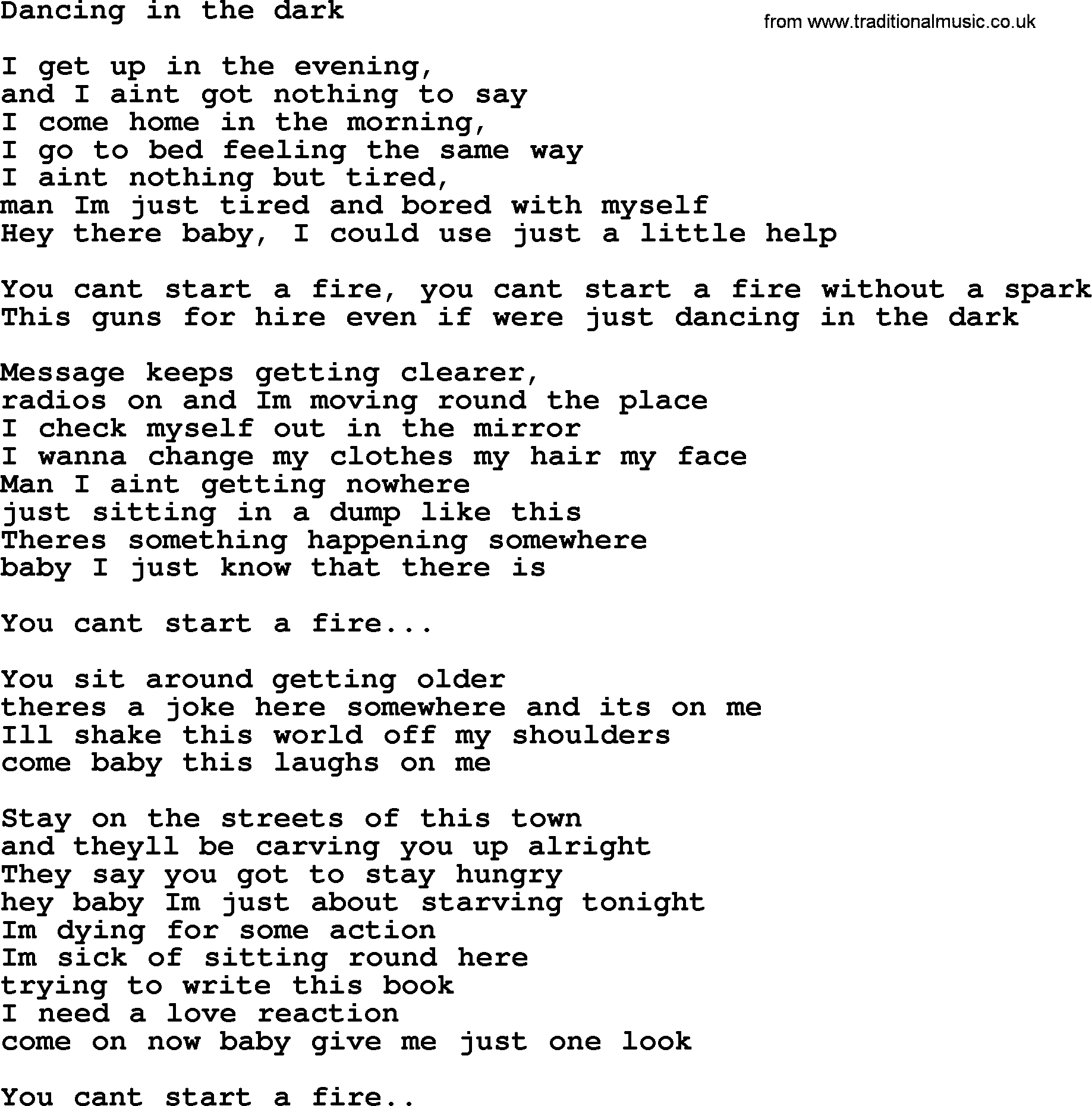 Lyrics The You Dark And I In Moving
