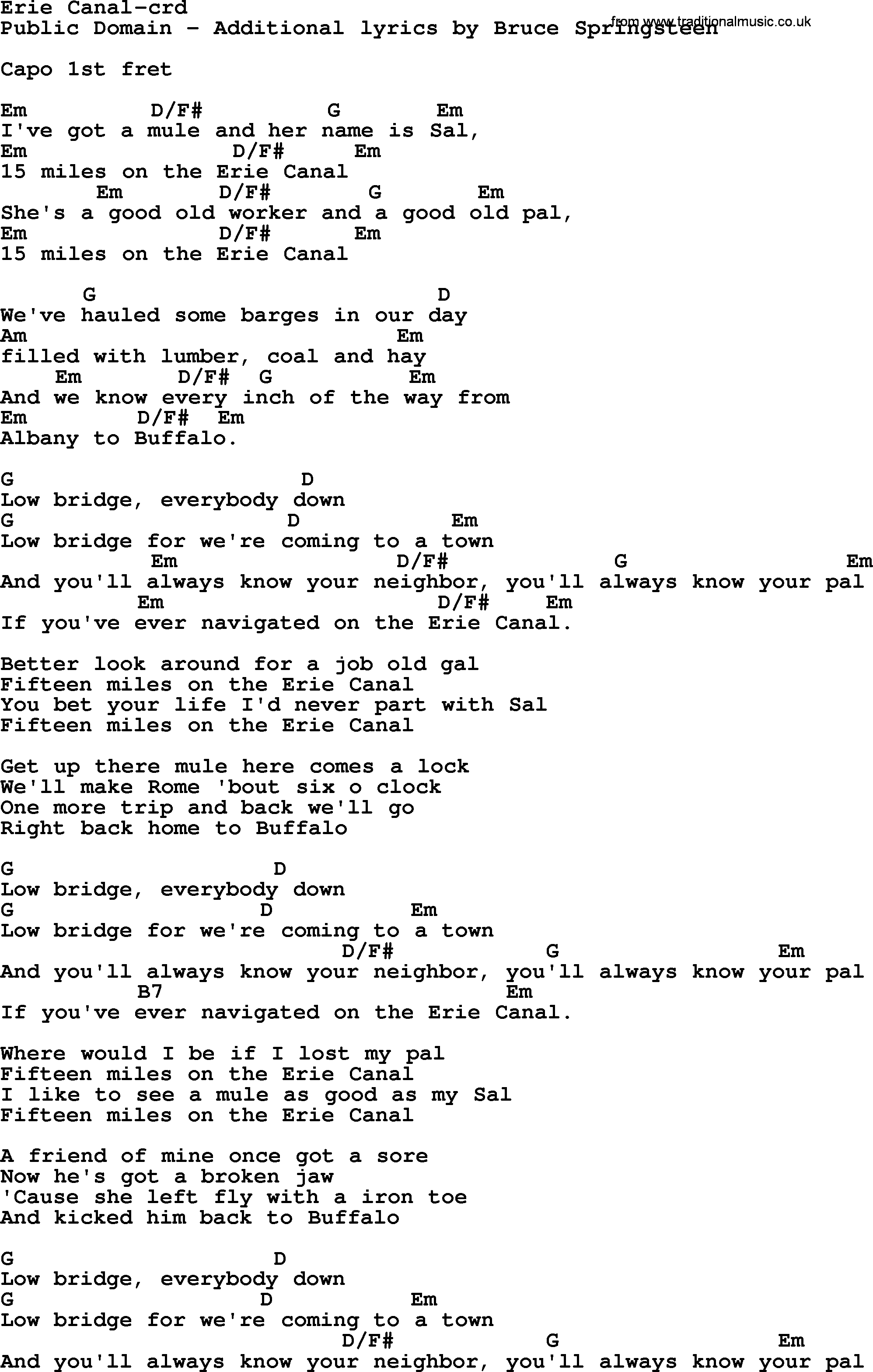 Bruce Springsteen - Erie Canal Lyrics | MetroLyrics
