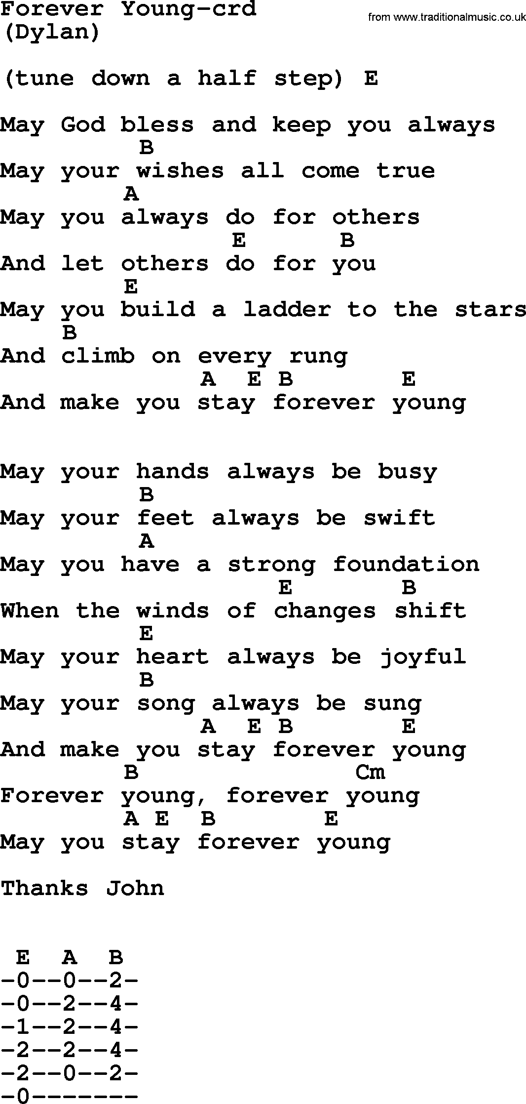 Bruce Springsteen song Forever Young, lyrics and chords