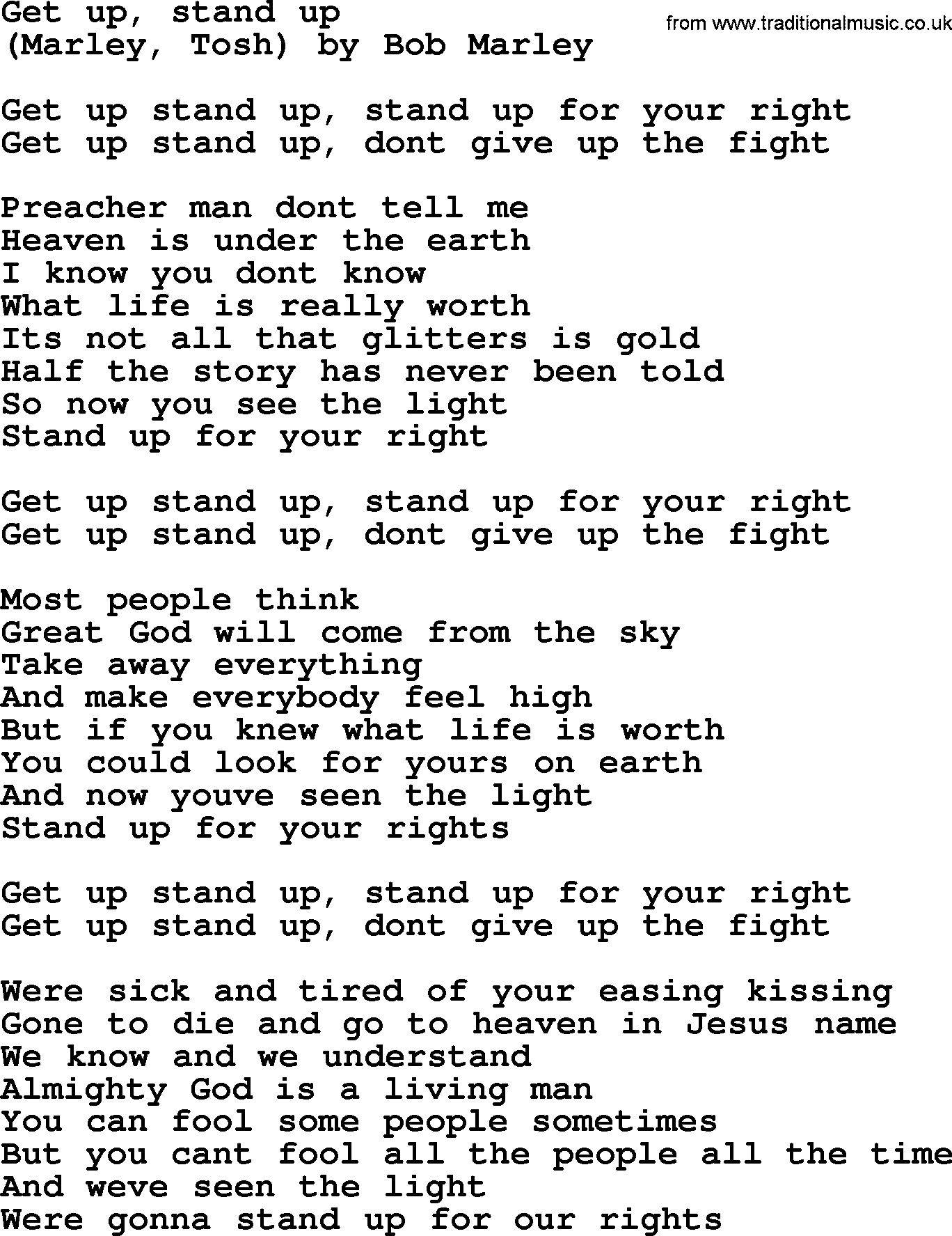 Bruce Springsteen Song Get Up Stand Up Lyrics