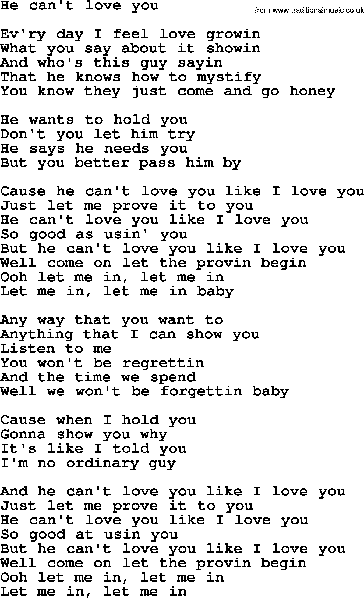 Bruce Springsteen song: He Can't Love You, lyrics
