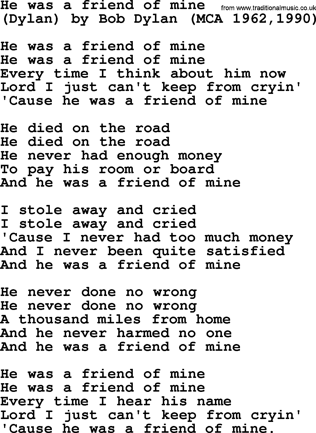 Bruce Springsteen Song He Was A Friend Of Mine Lyrics