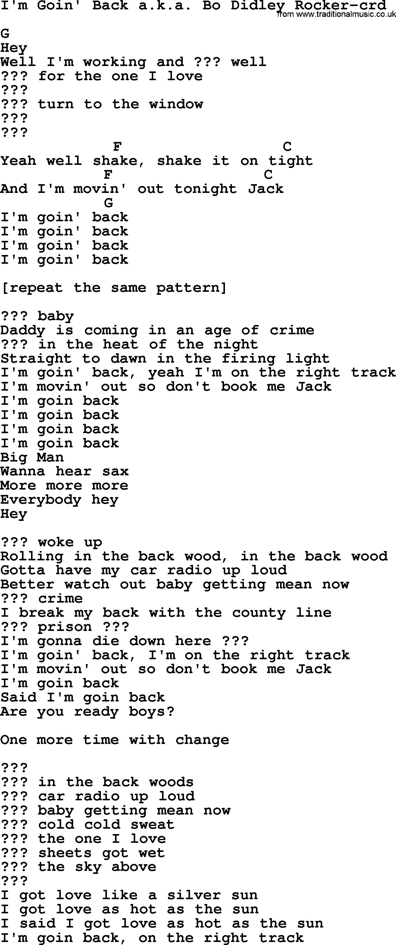 Bruce Springsteen Song Im Goin Back Aka Bo Didley Rocker Lyrics