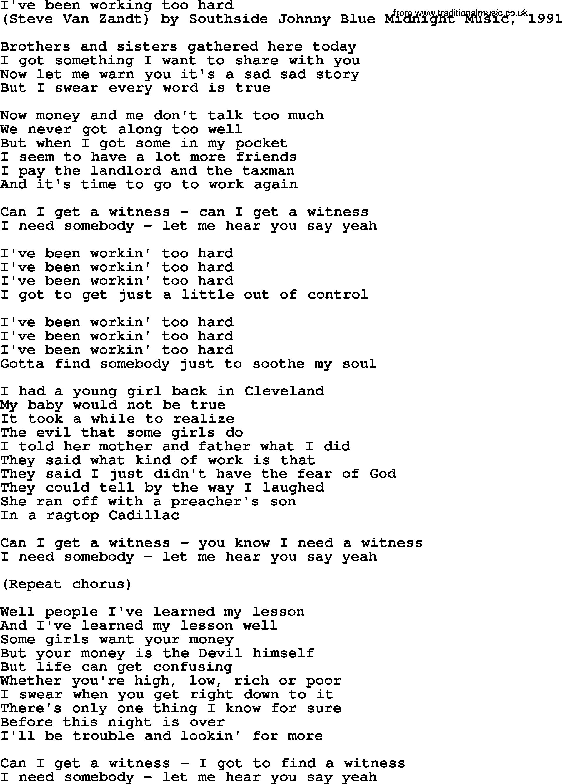 bruce springsteen song i ve been working too hard lyrics bruce springsteen song i ve been working too hard lyrics
