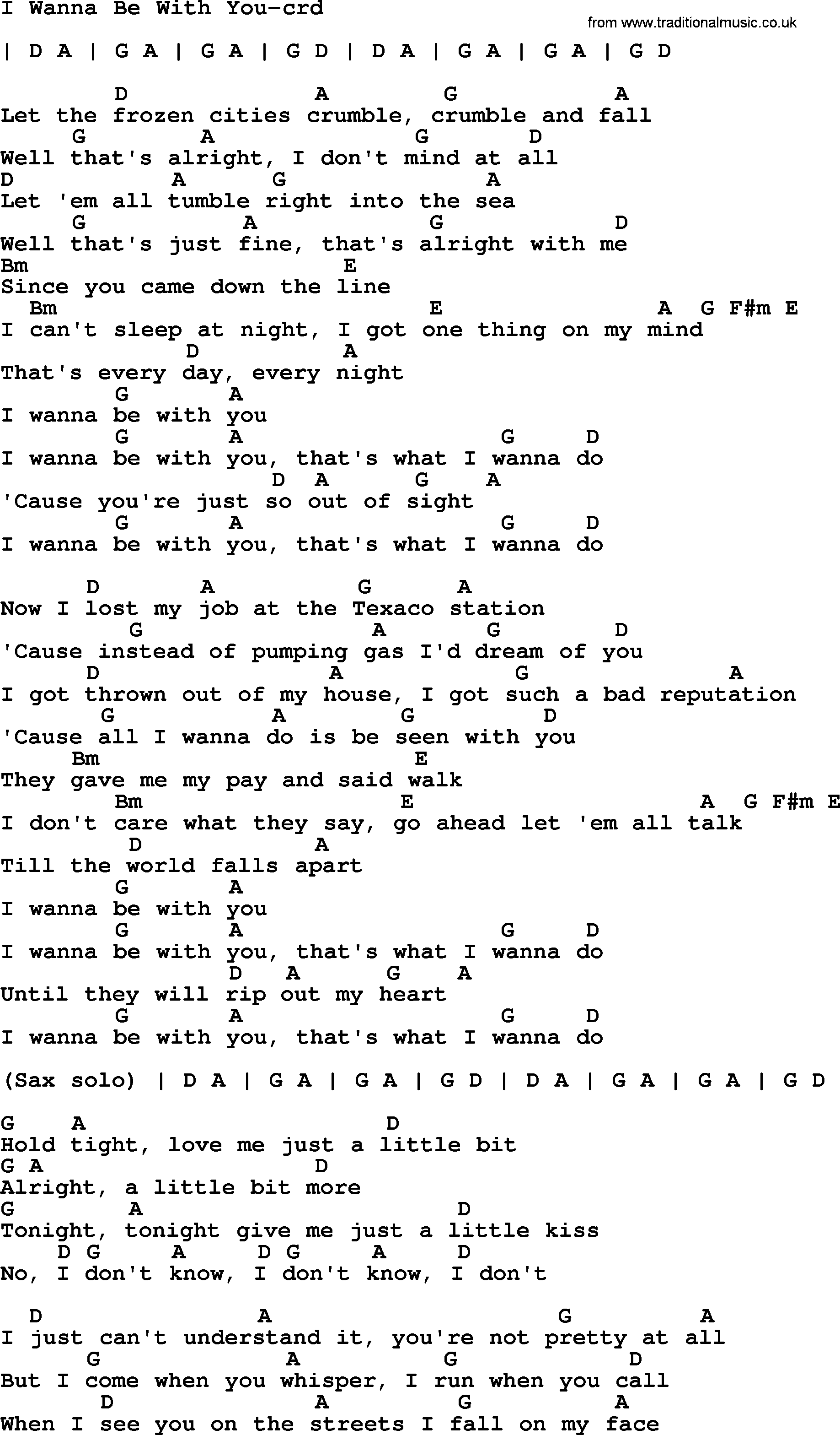 Bruce Springsteen Song I Wanna Be With You Lyrics And Chords