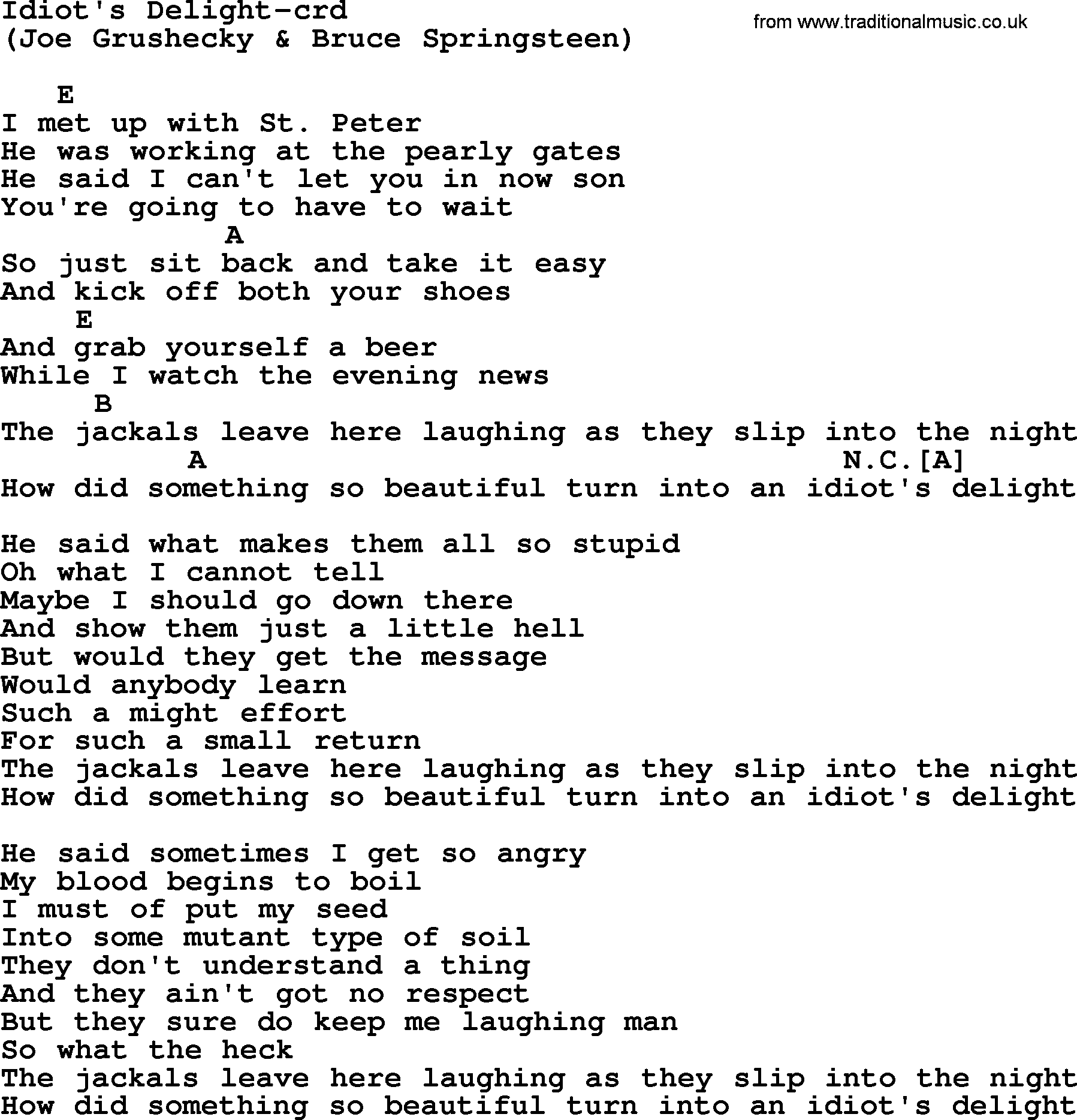 Bruce Springsteen Song Idiots Delight Lyrics And Chords