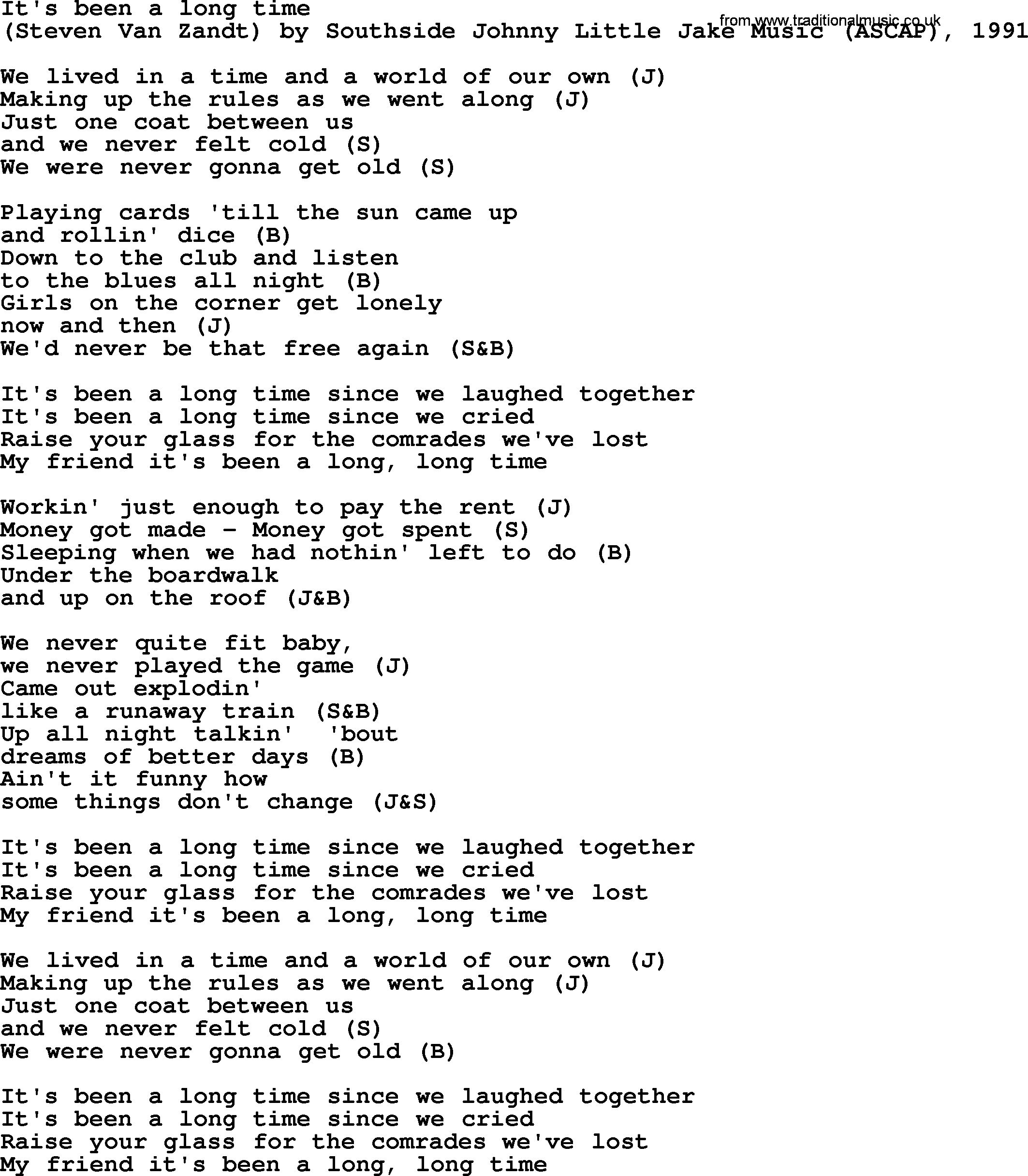 Bruce Springsteen Song Its Been A Long Time Lyrics