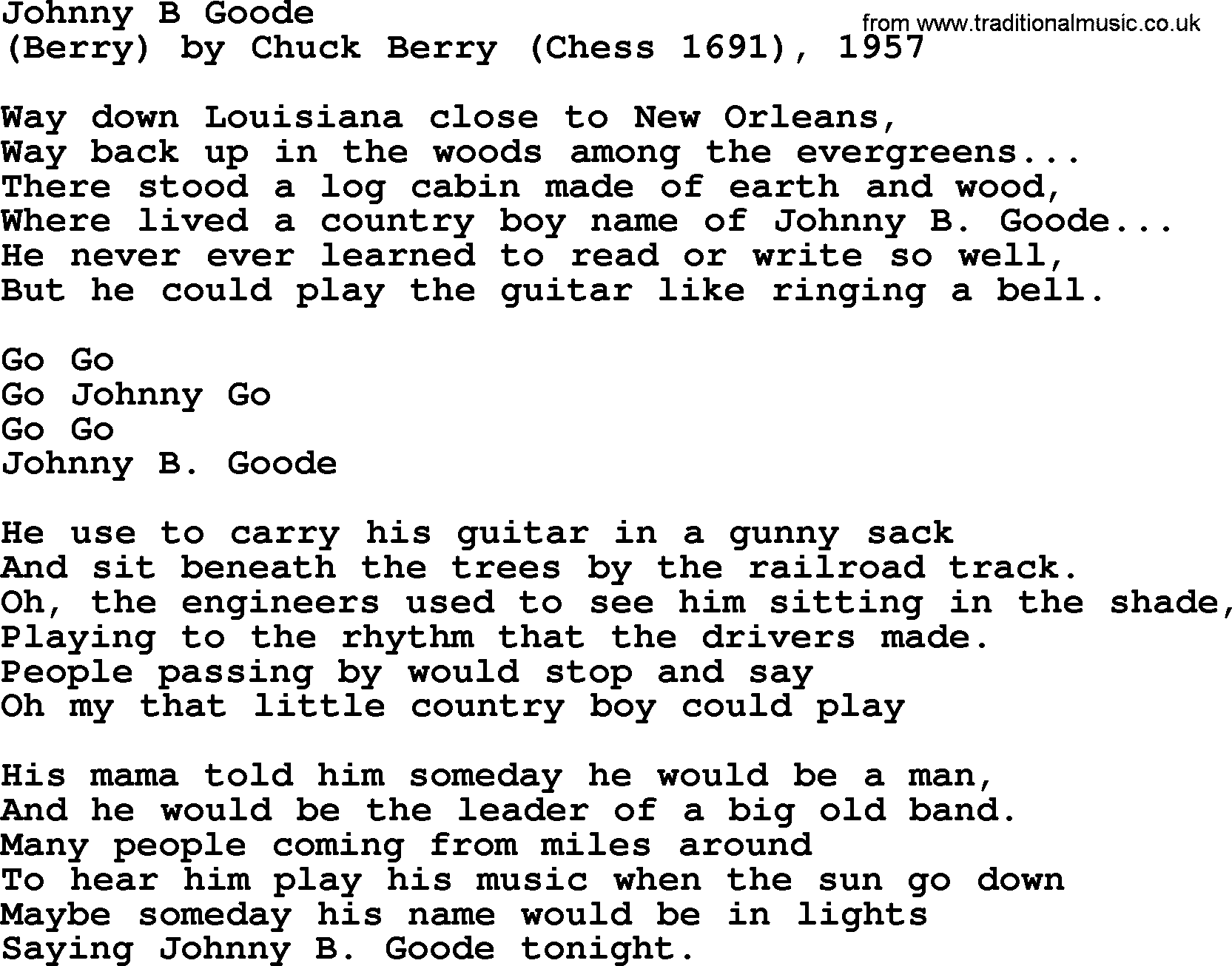 Chuck Berry - Johnny B. Goode Lyrics | MetroLyrics