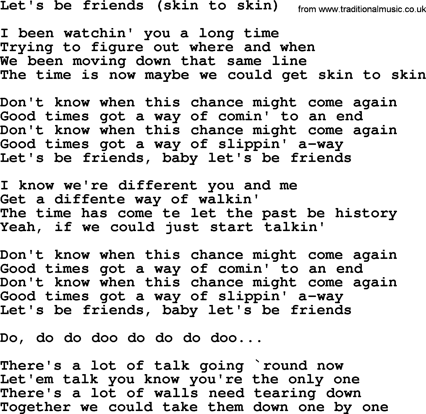 Lyrics for skin