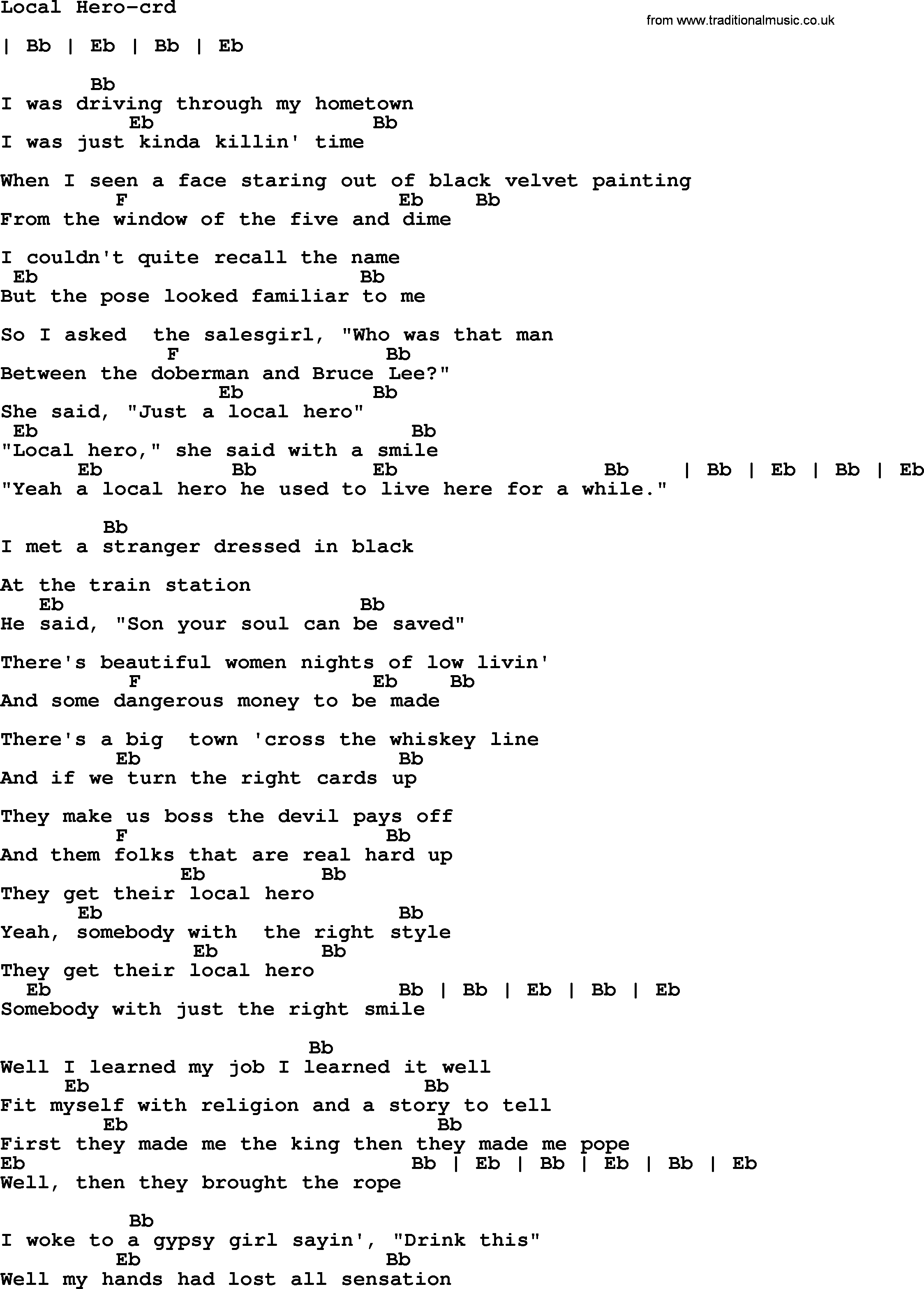 Bruce Springsteen song Local Hero, lyrics and chords